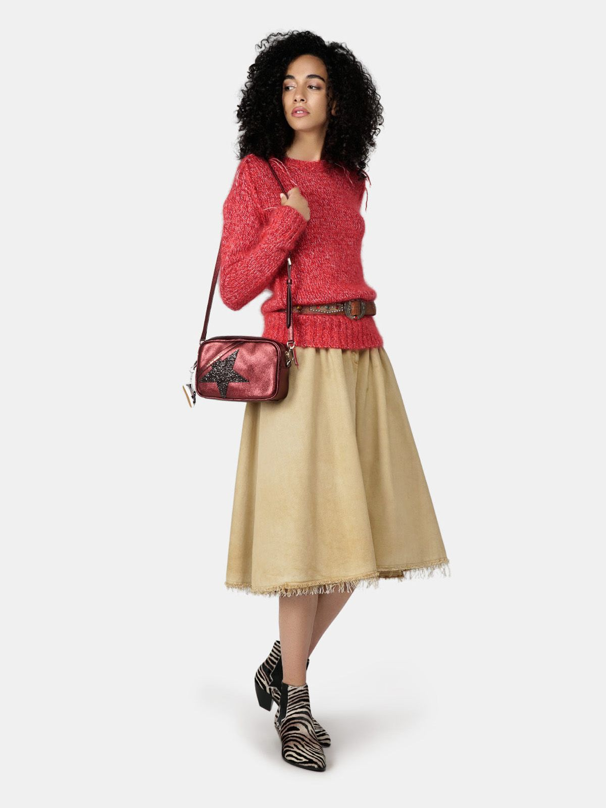 Golden Goose - Adele skirt in dyed denim with raw edge bottom in