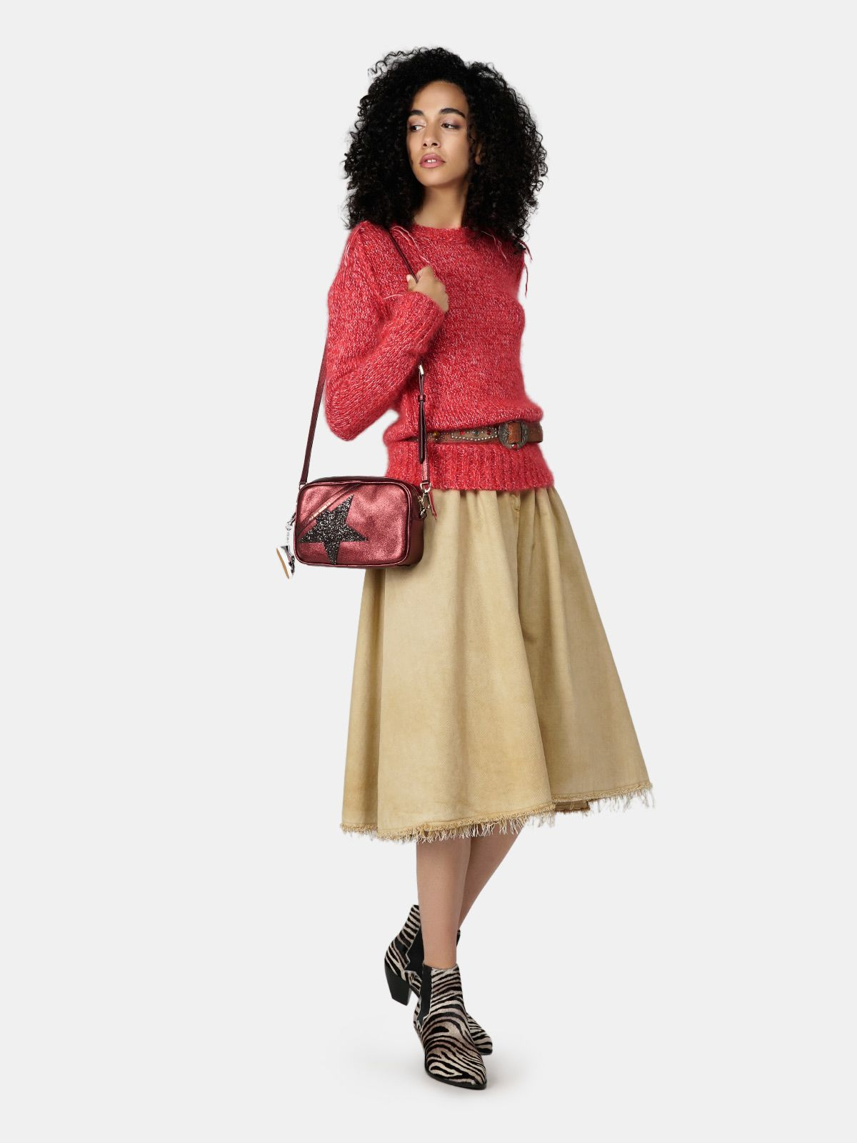 Golden Goose - Melange red Annamaria pullover with pin in