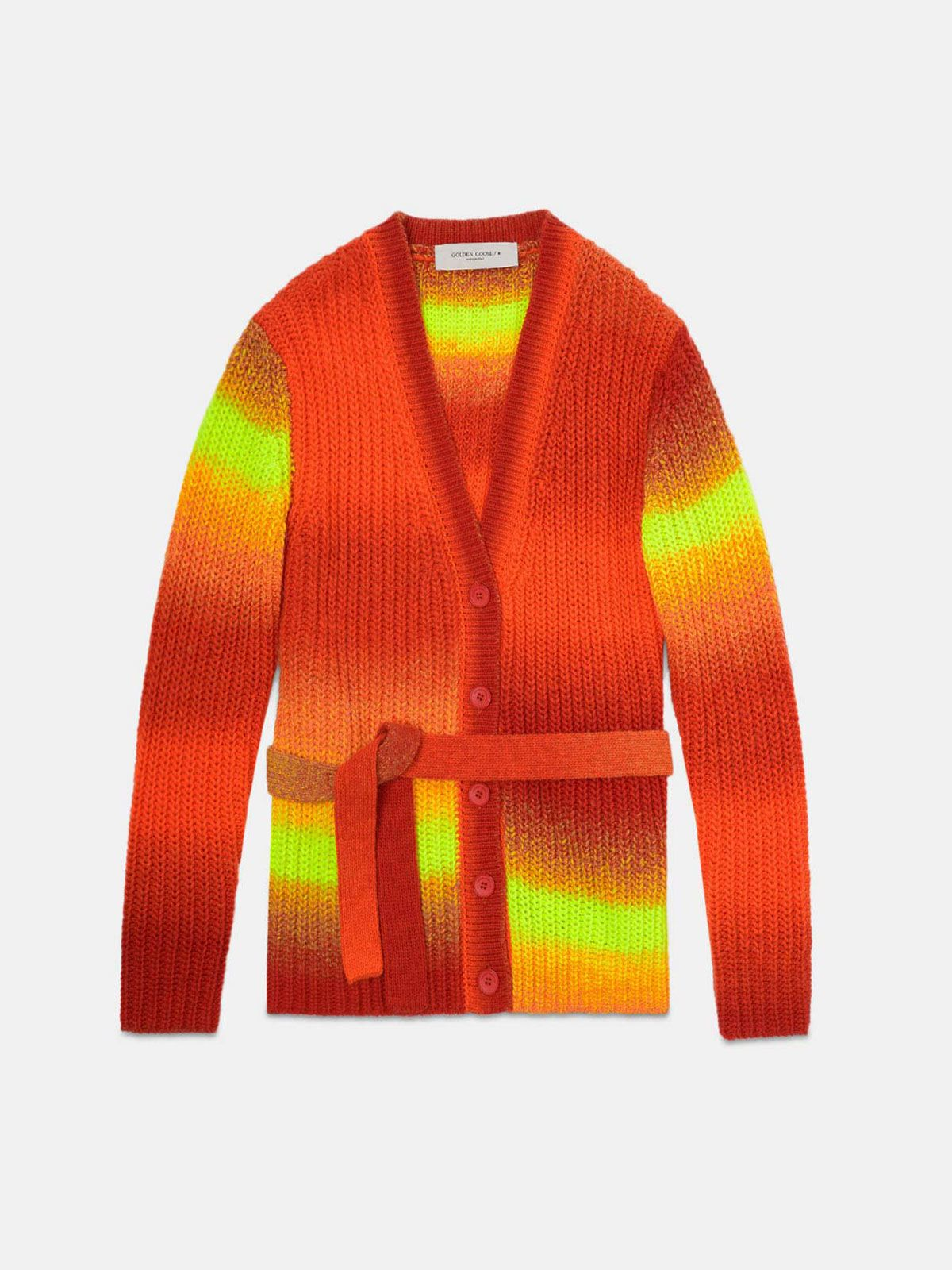 Annavera cardigan in shaded-effect wool with belt