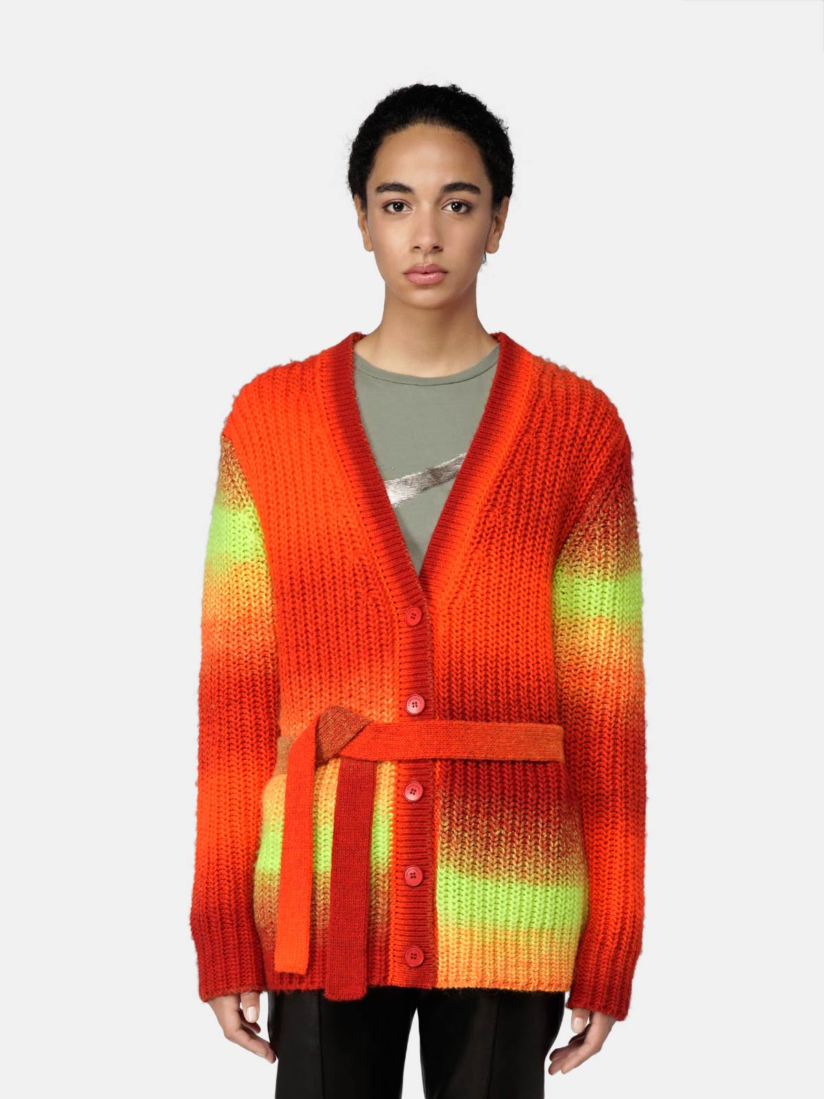 Golden Goose - Cardigan Annavera in lana degradé con cintura in