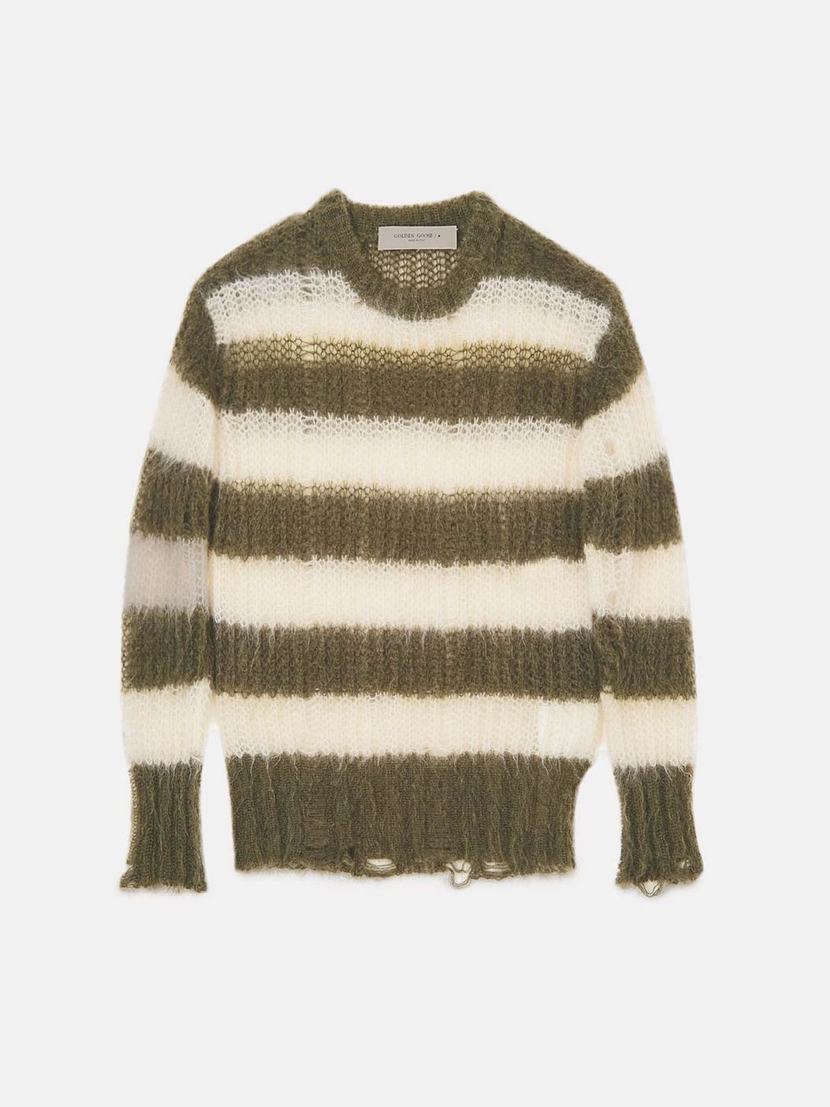Golden Goose - Green and white striped Antonica pullover in mohair wool in