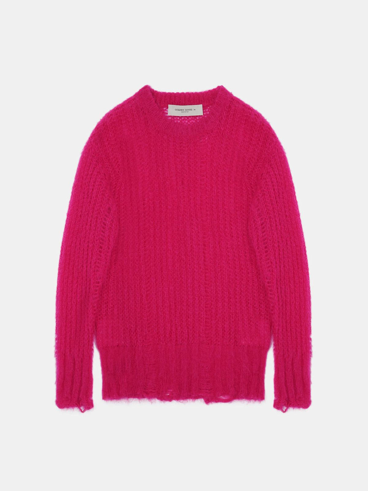 Golden Goose - Fucsia Color Block pullover with distressed effect in