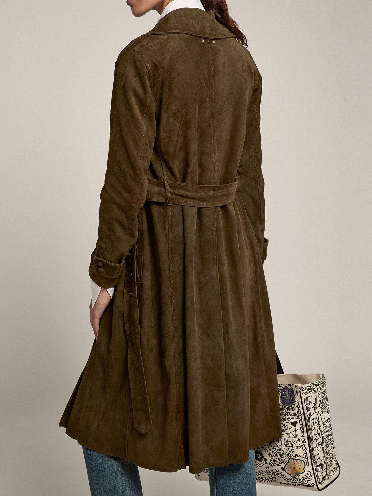 Golden Goose - Abigail trench coat in military green suede leather in
