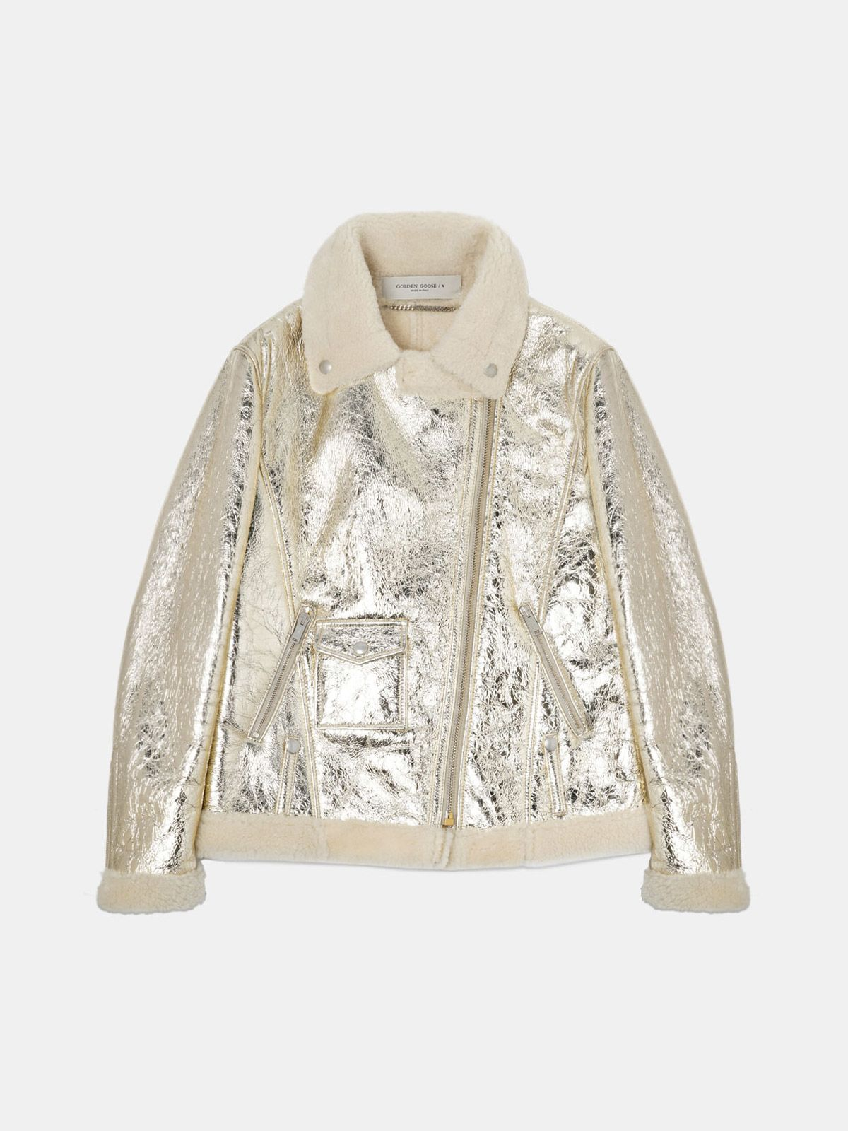 Assia sheepskin jacket in laminated leather with shearling lining