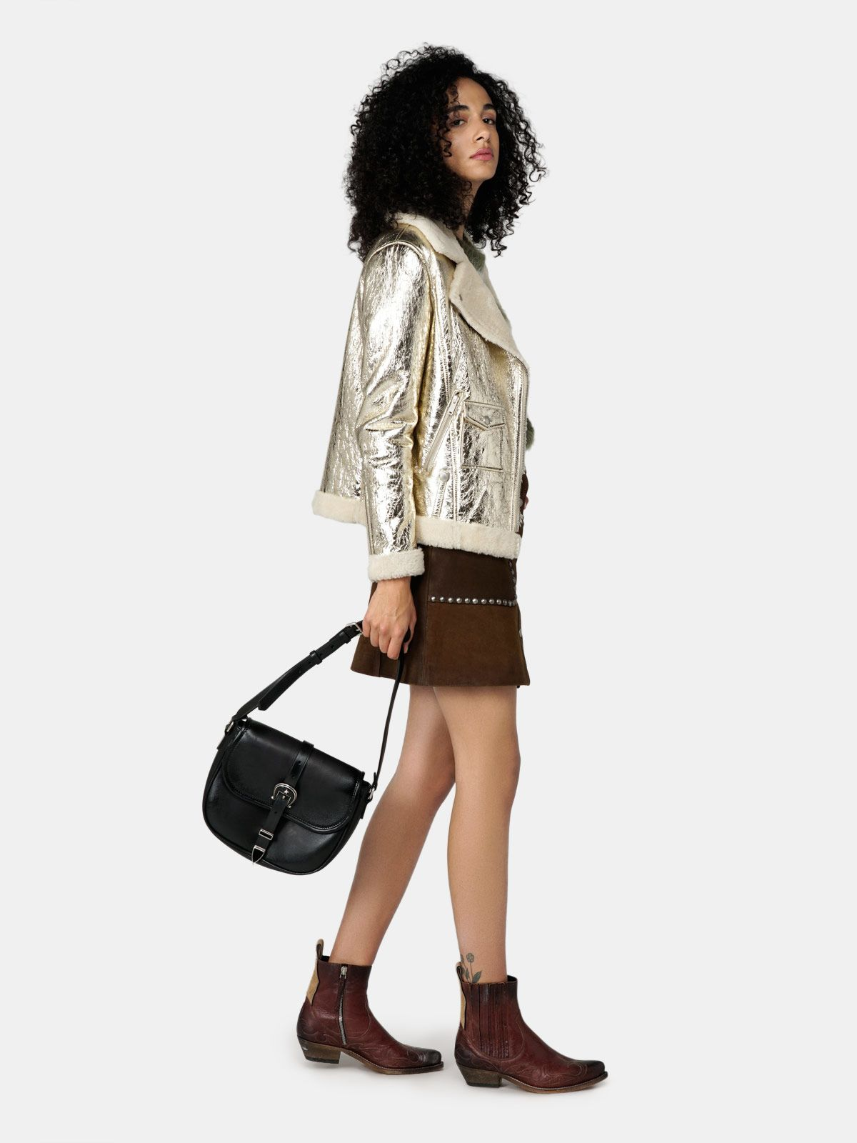 Golden Goose - Assia sheepskin jacket in laminated leather with shearling lining in