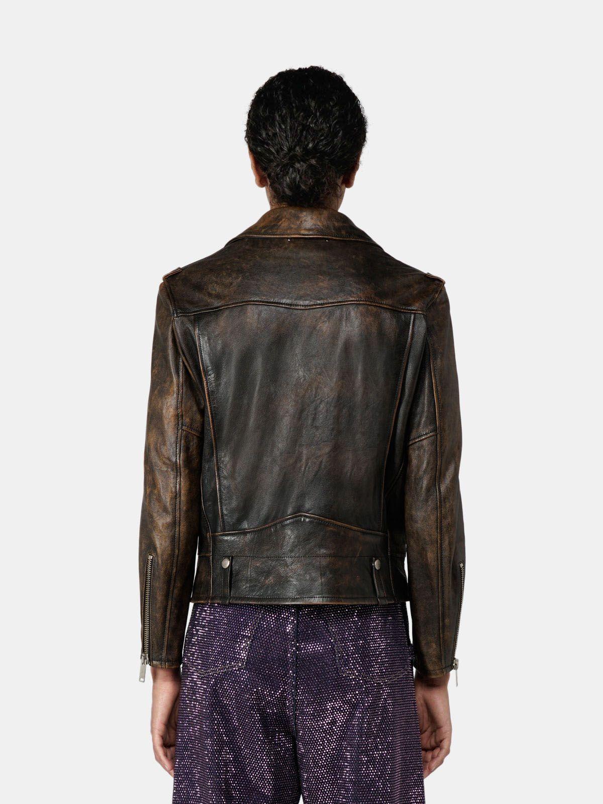 Golden Goose - Andra biker jacket in vintage-look nappa leather in