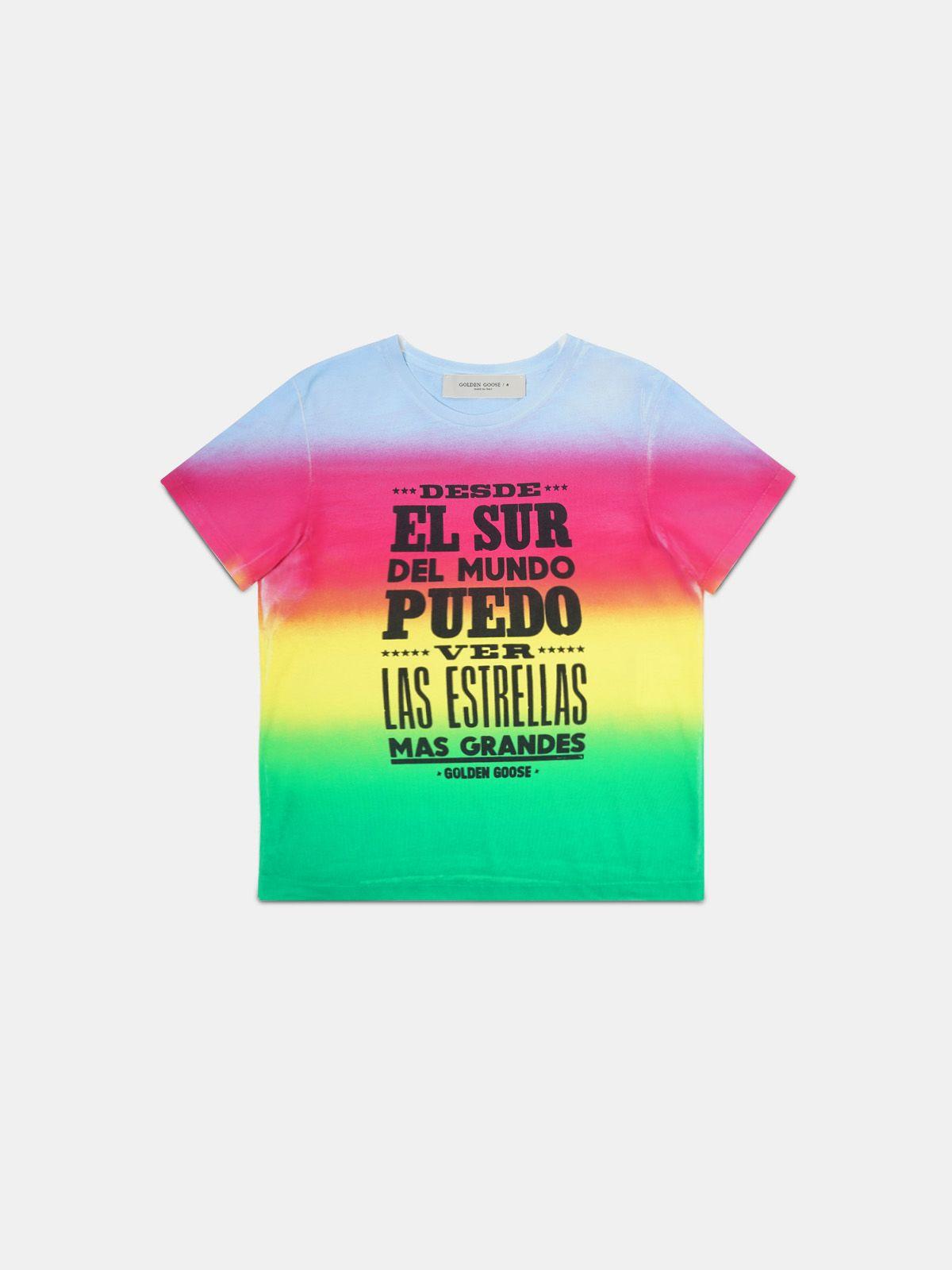 T-shirt Ania effetto tie-dye con stampa sul davanti