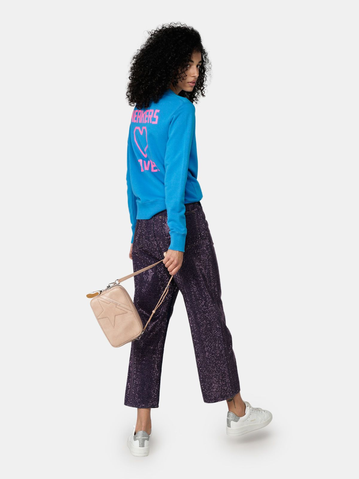 Golden Goose - Athena blue round-neck sweatshirt with print on the back in