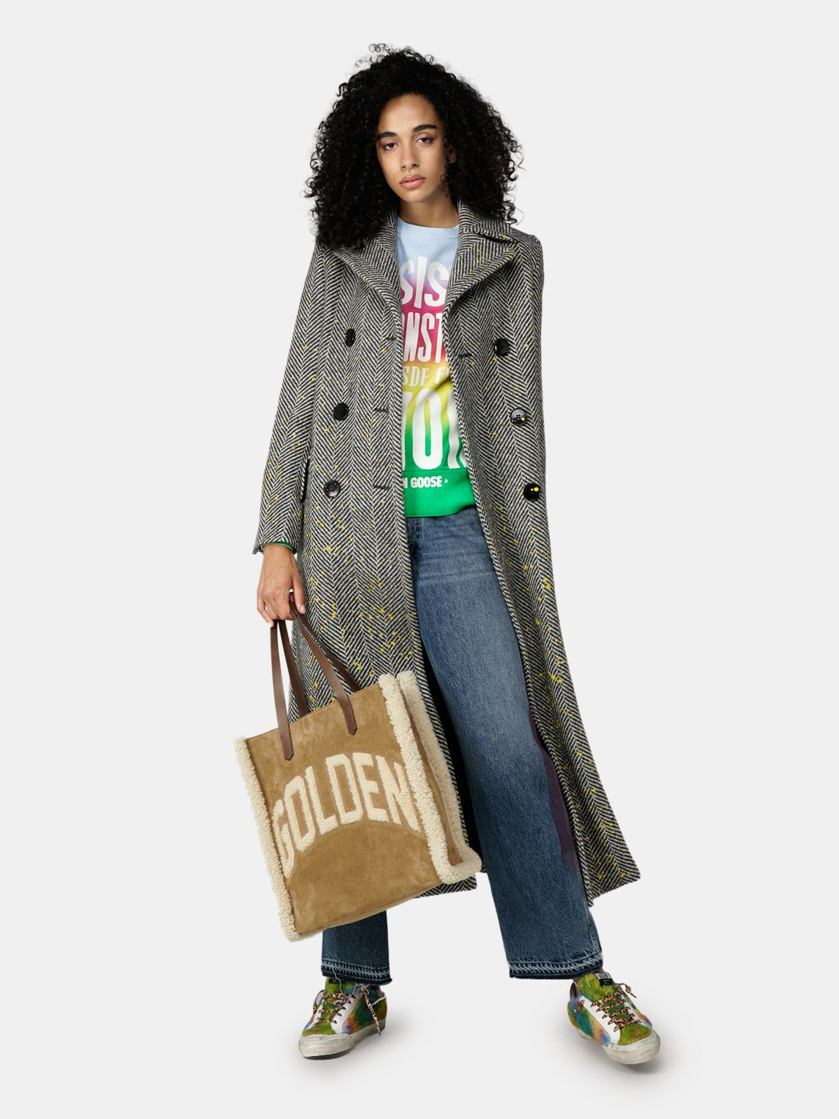 Golden Goose - Athena tie-dye sweatshirt with print on the front in