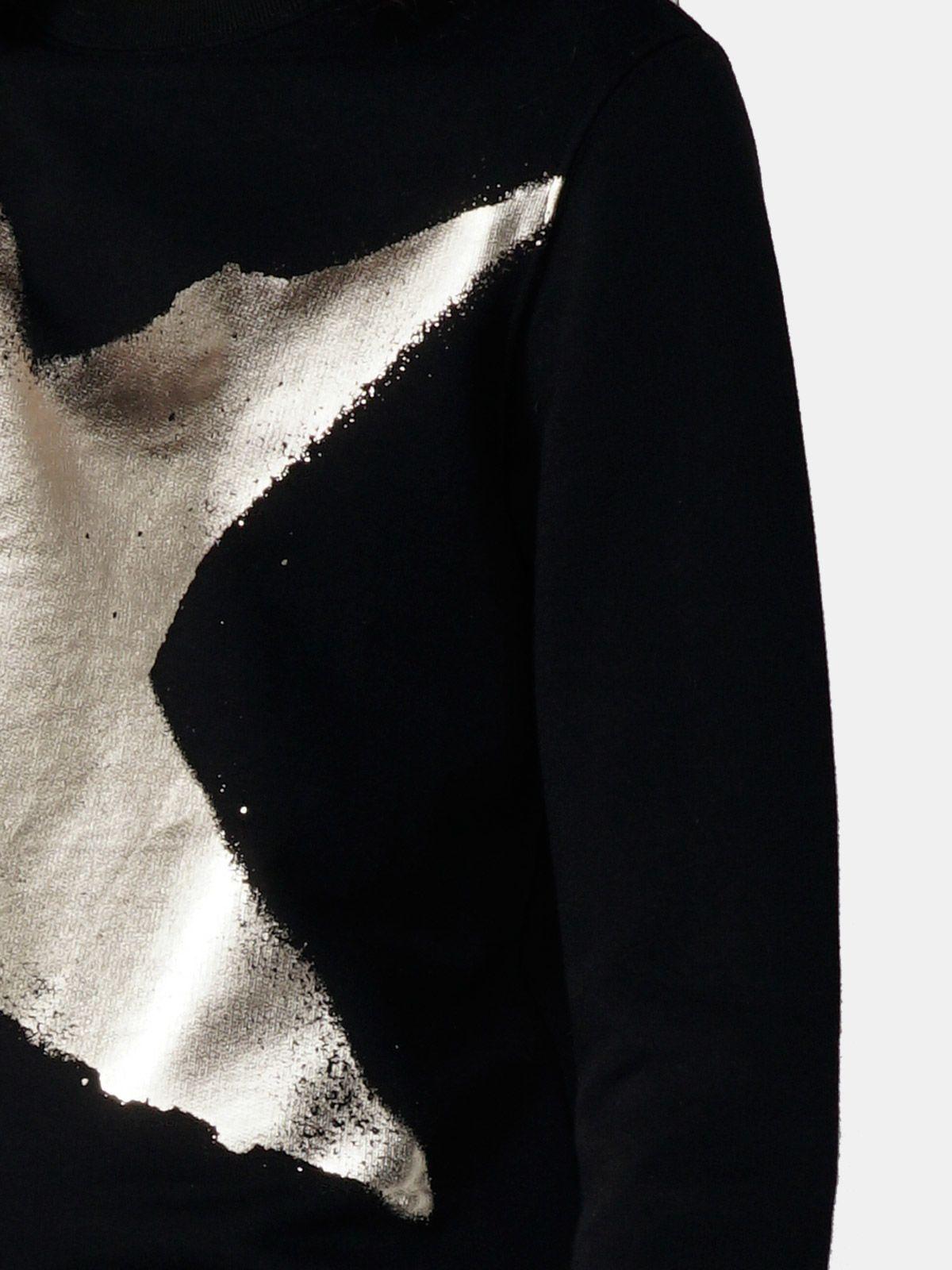 Golden Goose - Athena black sweatshirt with laminated star print in