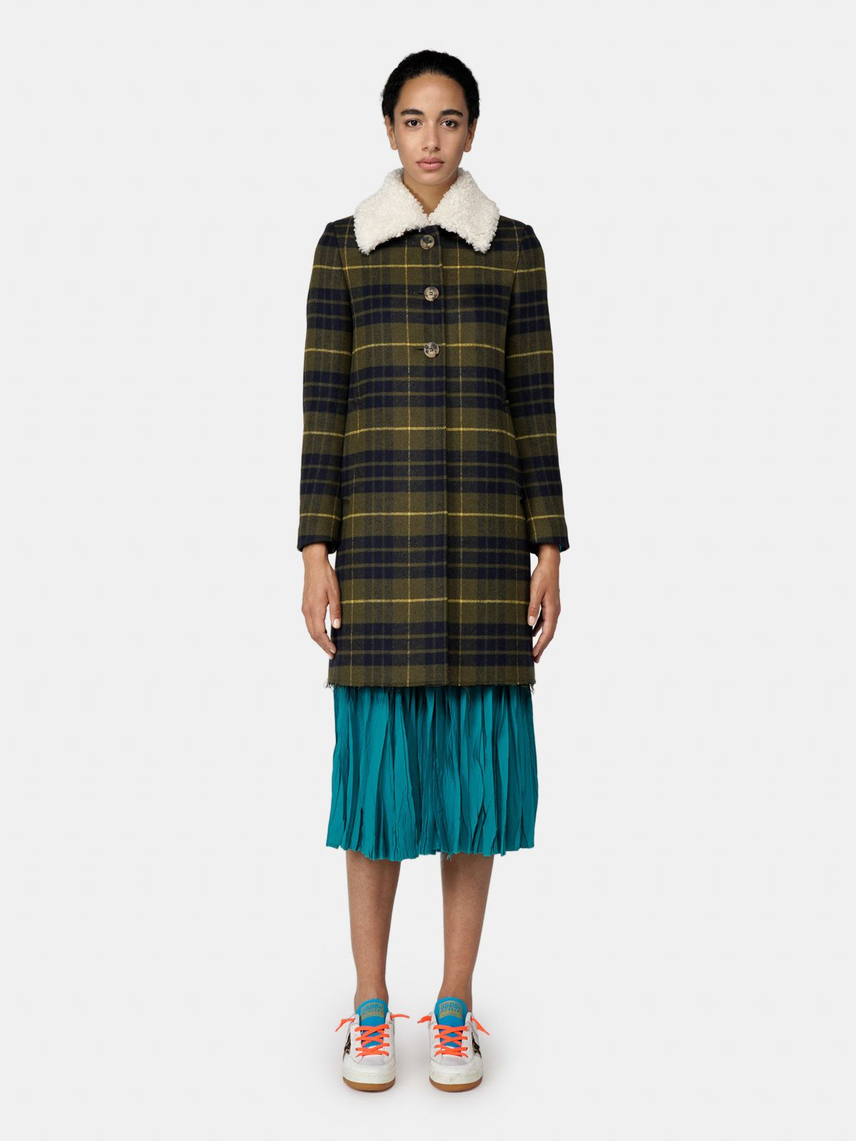 Golden Goose - Amelia coat in tartan with faux fur collar in