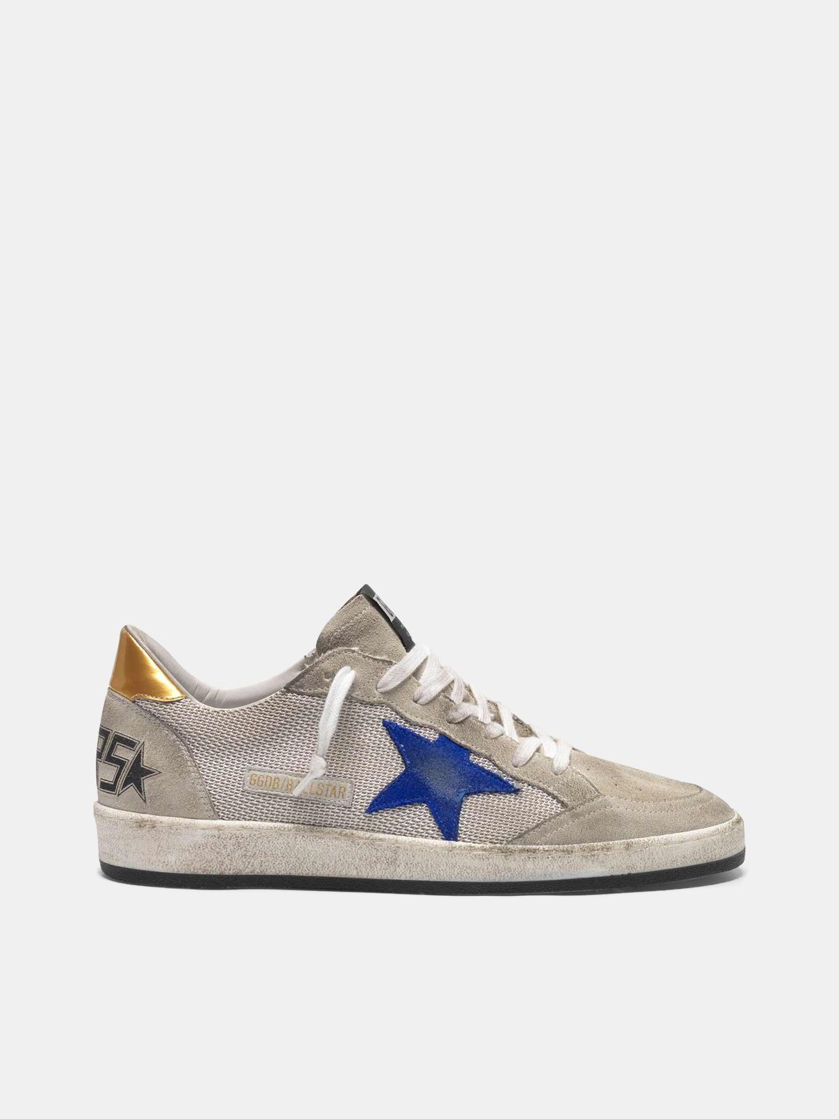 Golden Goose - Grey suede Ball Star sneakers with mesh inserts in