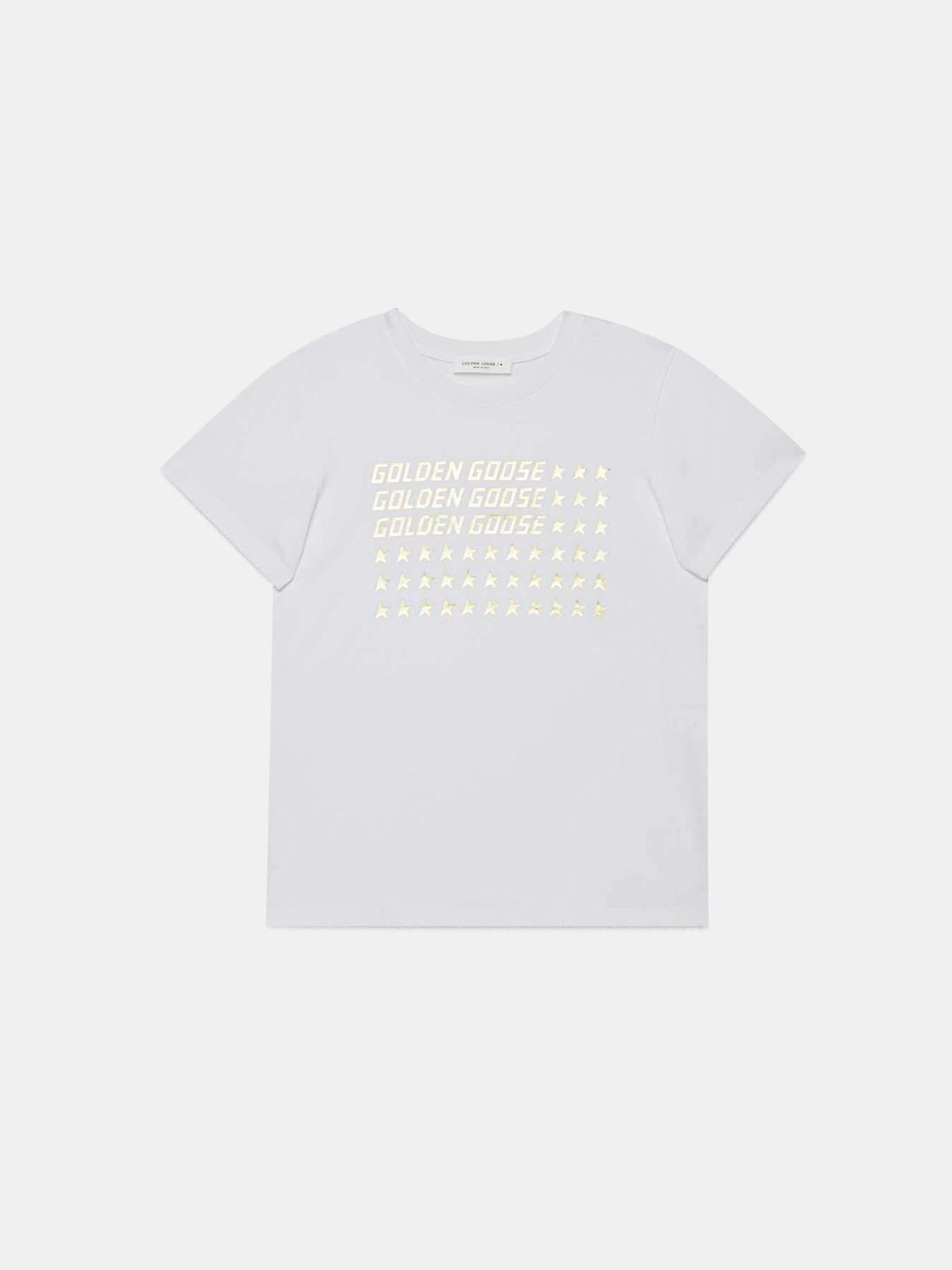 T-shirt Venice bianca con stampa dorata flag