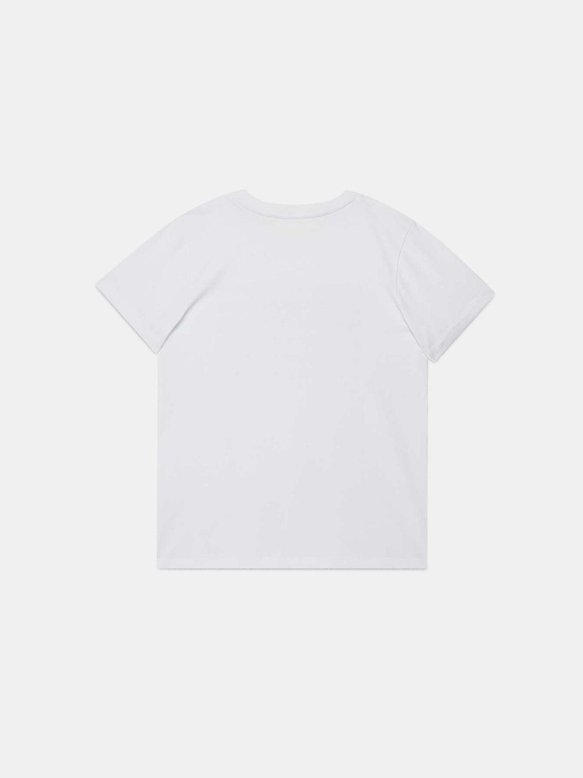 Golden Goose - T-shirt Venice bianca con stampa dorata flag in