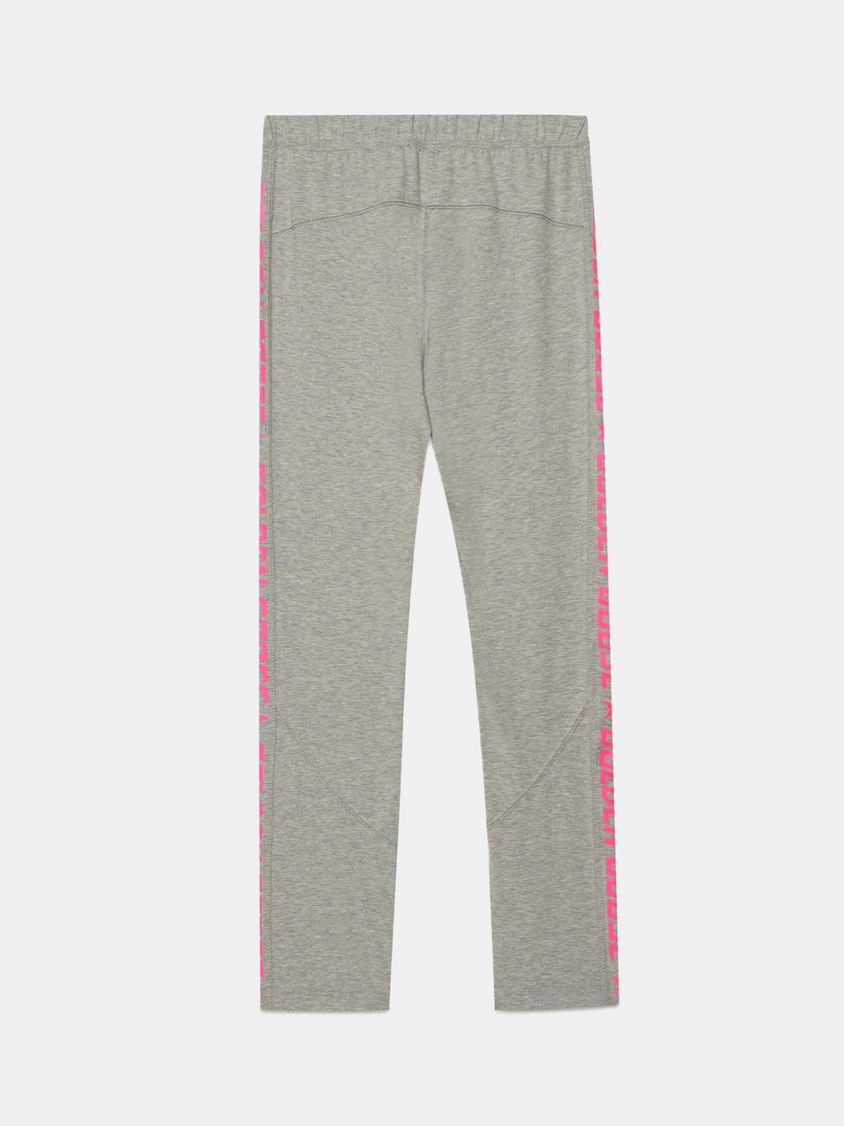 Golden Goose - Melange grey Primrose leggings with fuchsia logo   in
