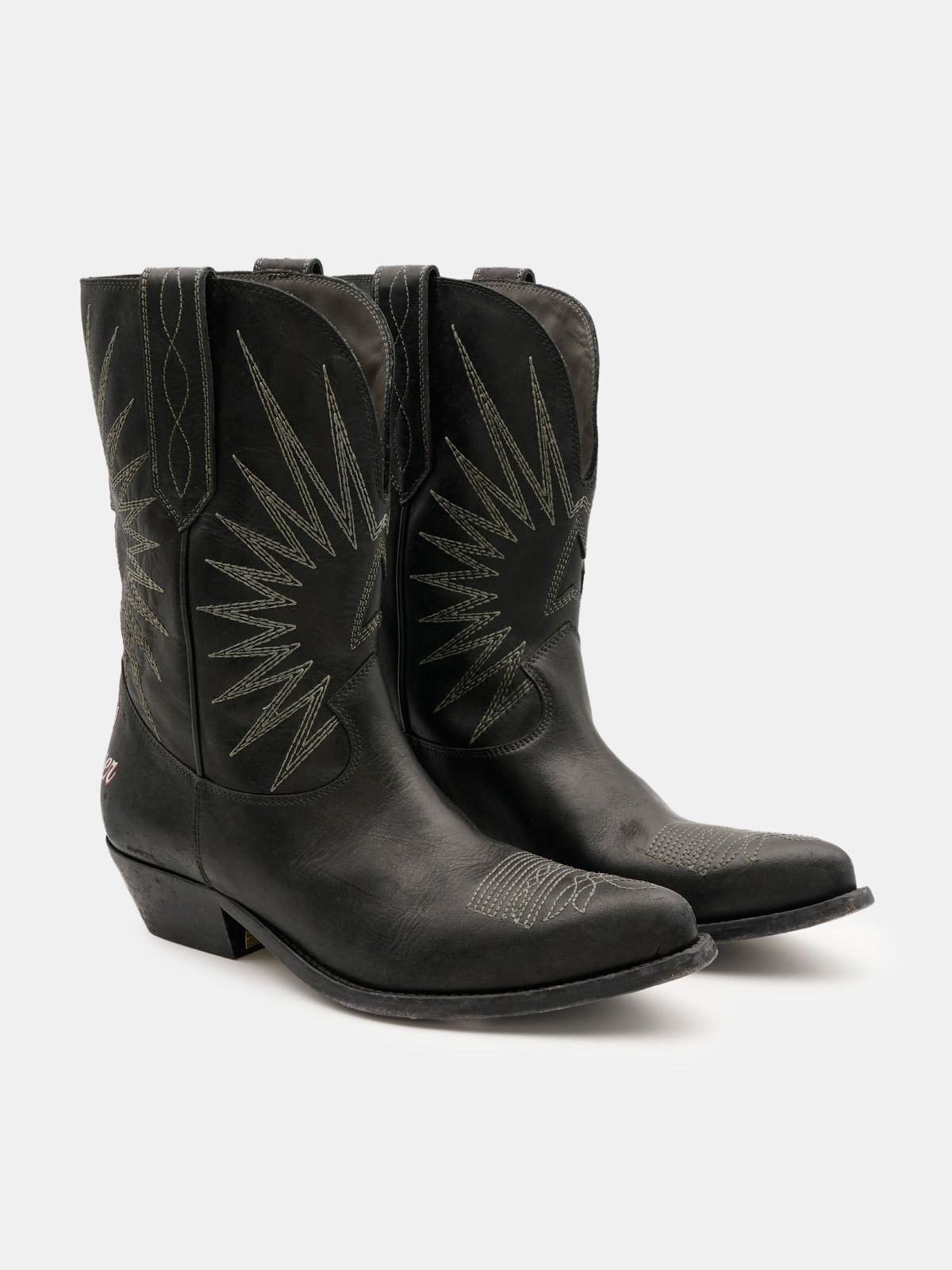 Golden Goose - Wish Star low black boots with lettering on the back in