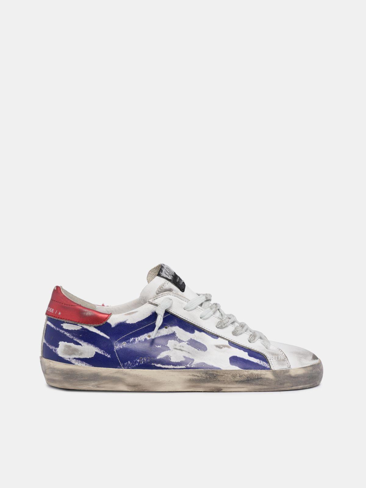 Zapatillas Super-Star rojas y azul metalizado