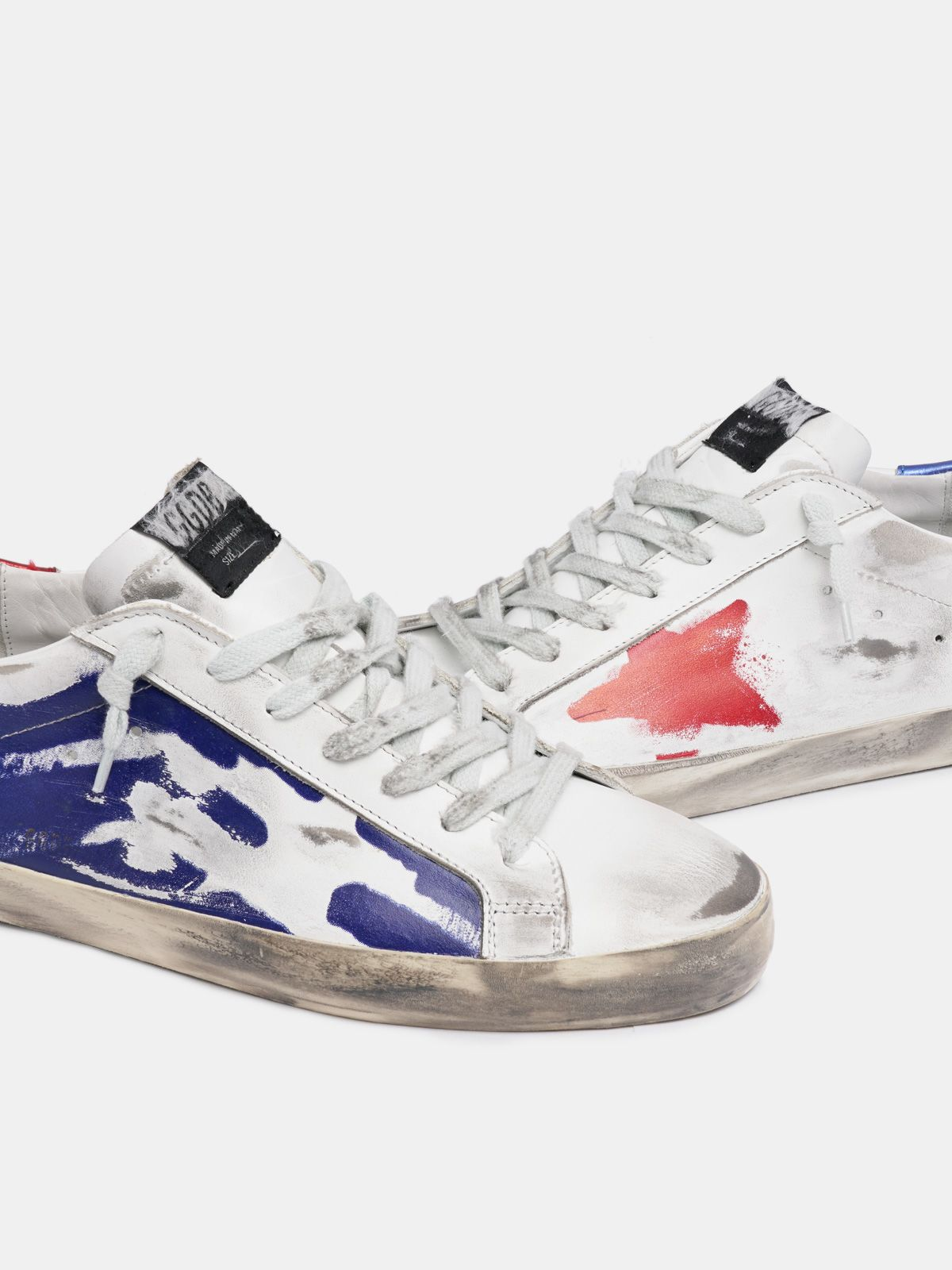 Golden Goose - Metallic red and blue Super-Star sneakers in