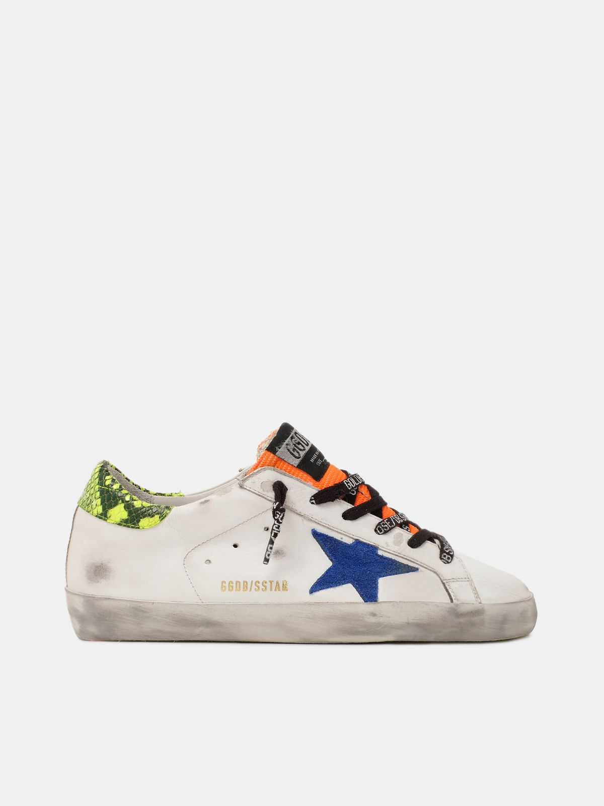Golden Goose - Super-Star sneakers with yellow snake-print heel tab in
