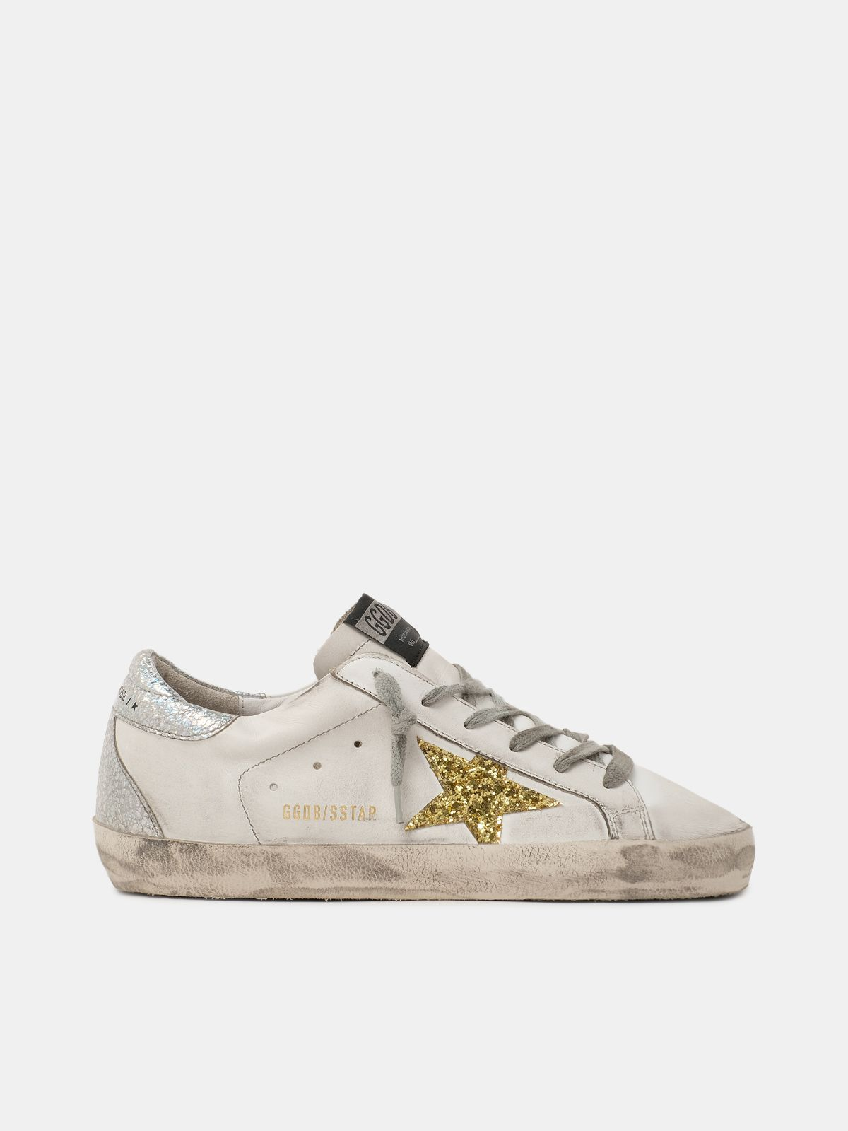 Super-Star sneakers with glitter star and heel tab