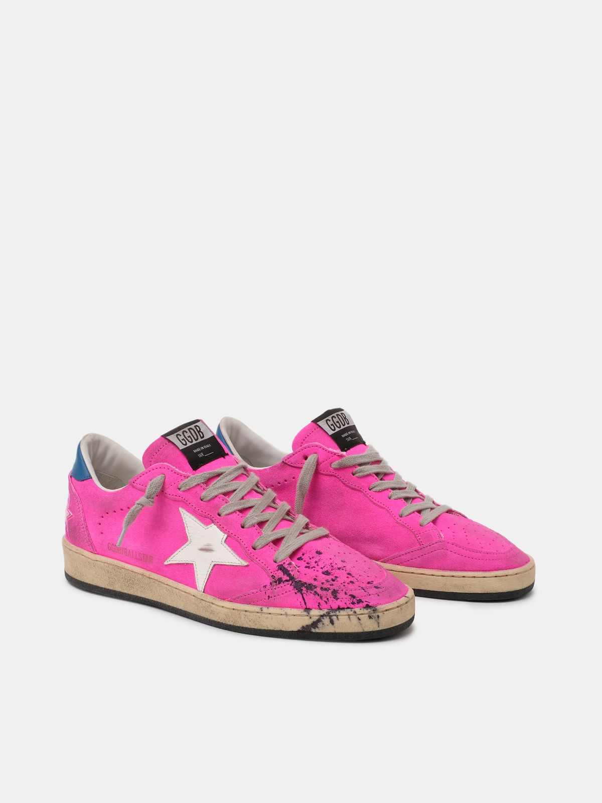 Golden Goose - Ball Star sneakers in fuchsia leather with splashes of colour in