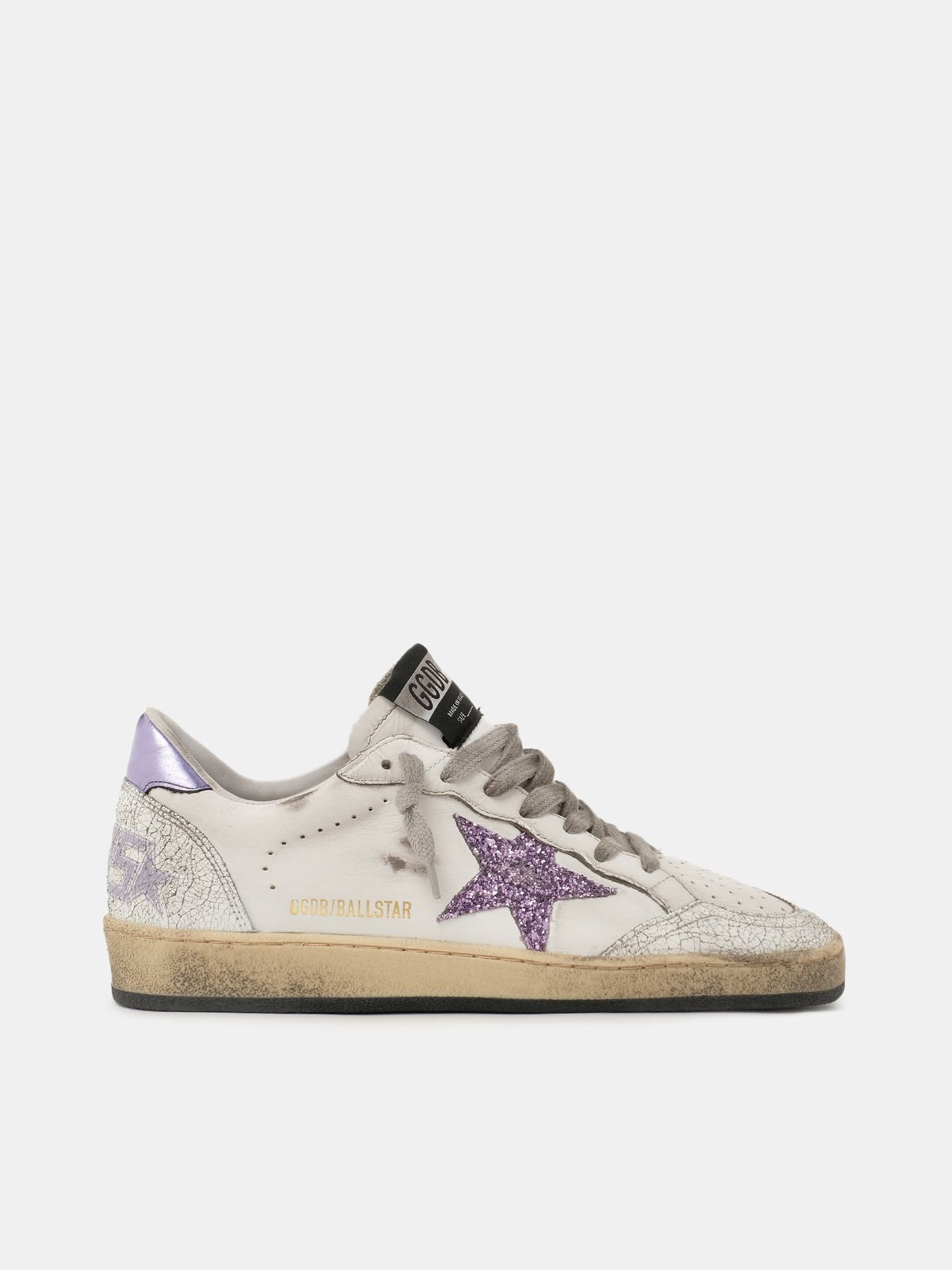 Sneakers Ball Star con purpurina violeta