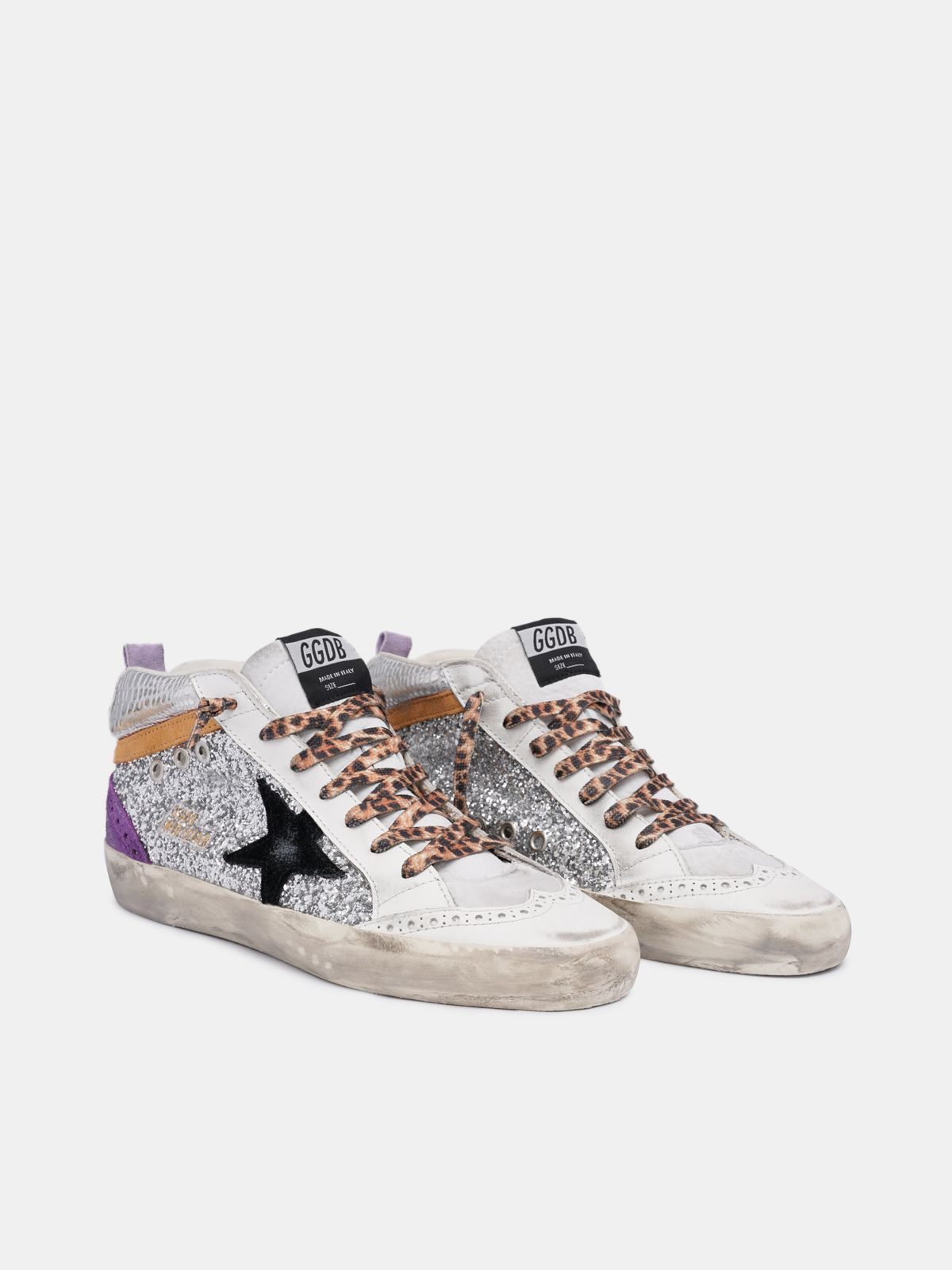 Golden Goose - Silver Mid Star sneakers with glitter in