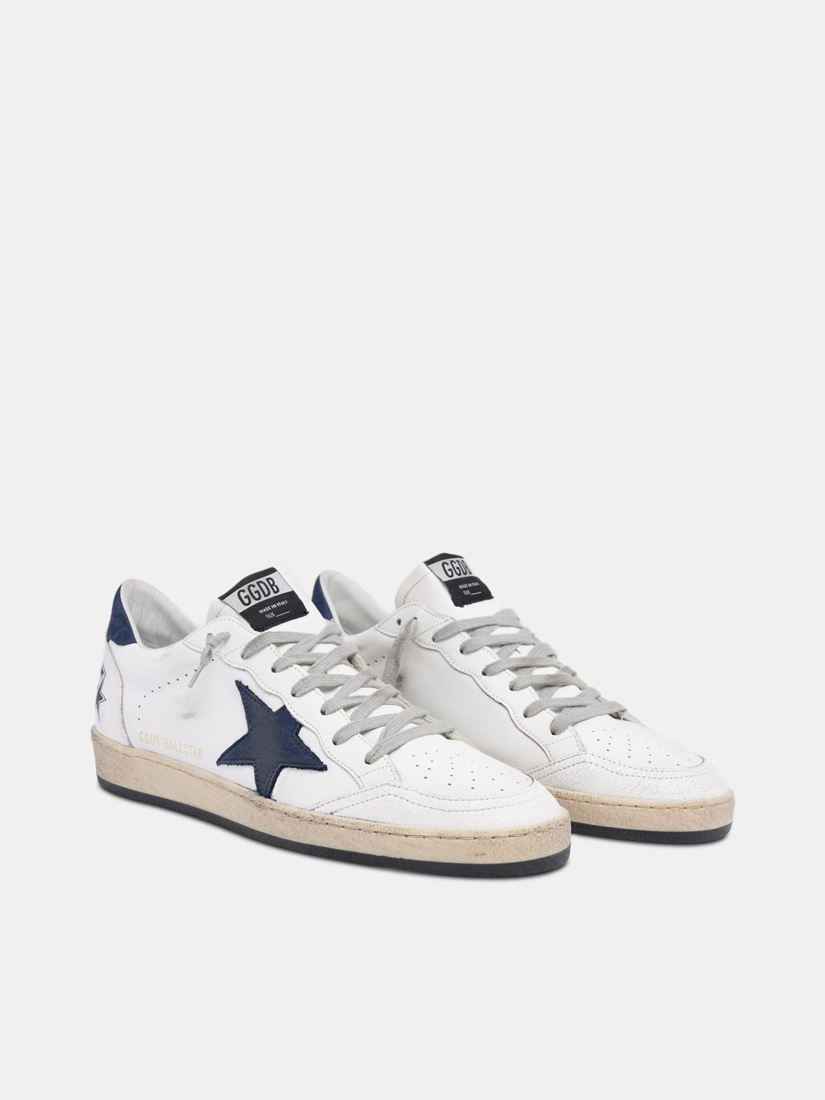 Golden Goose - White Ball Star sneakers with blue star in