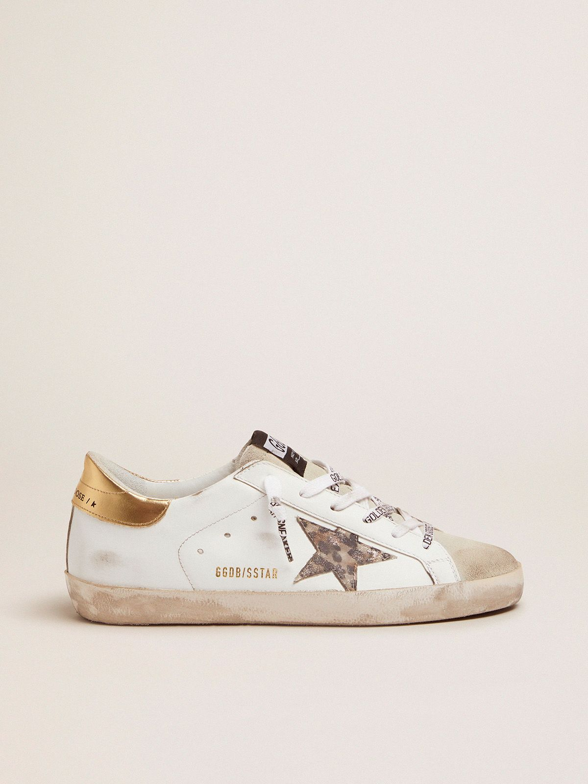 White Super-Star sneakers with leopard-print star