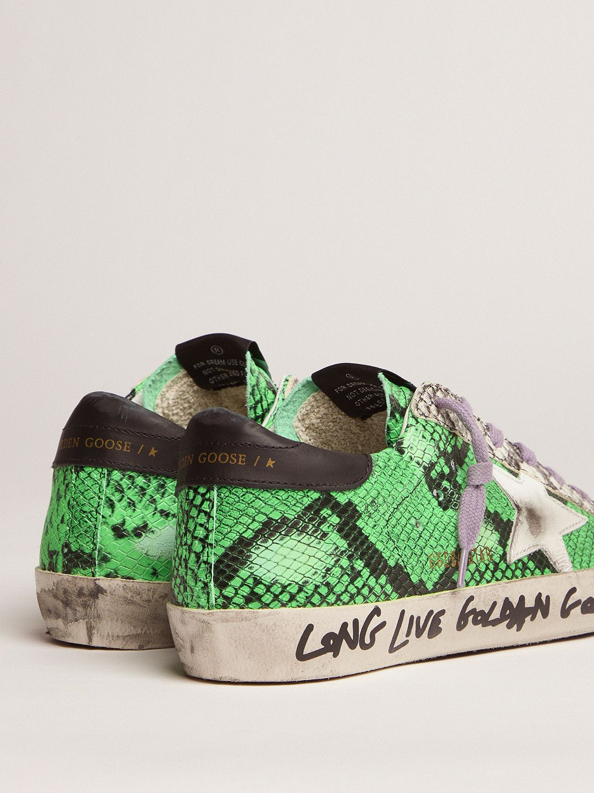 Golden Goose - Sneakers Super-Star in pelle pitonata bicolore in