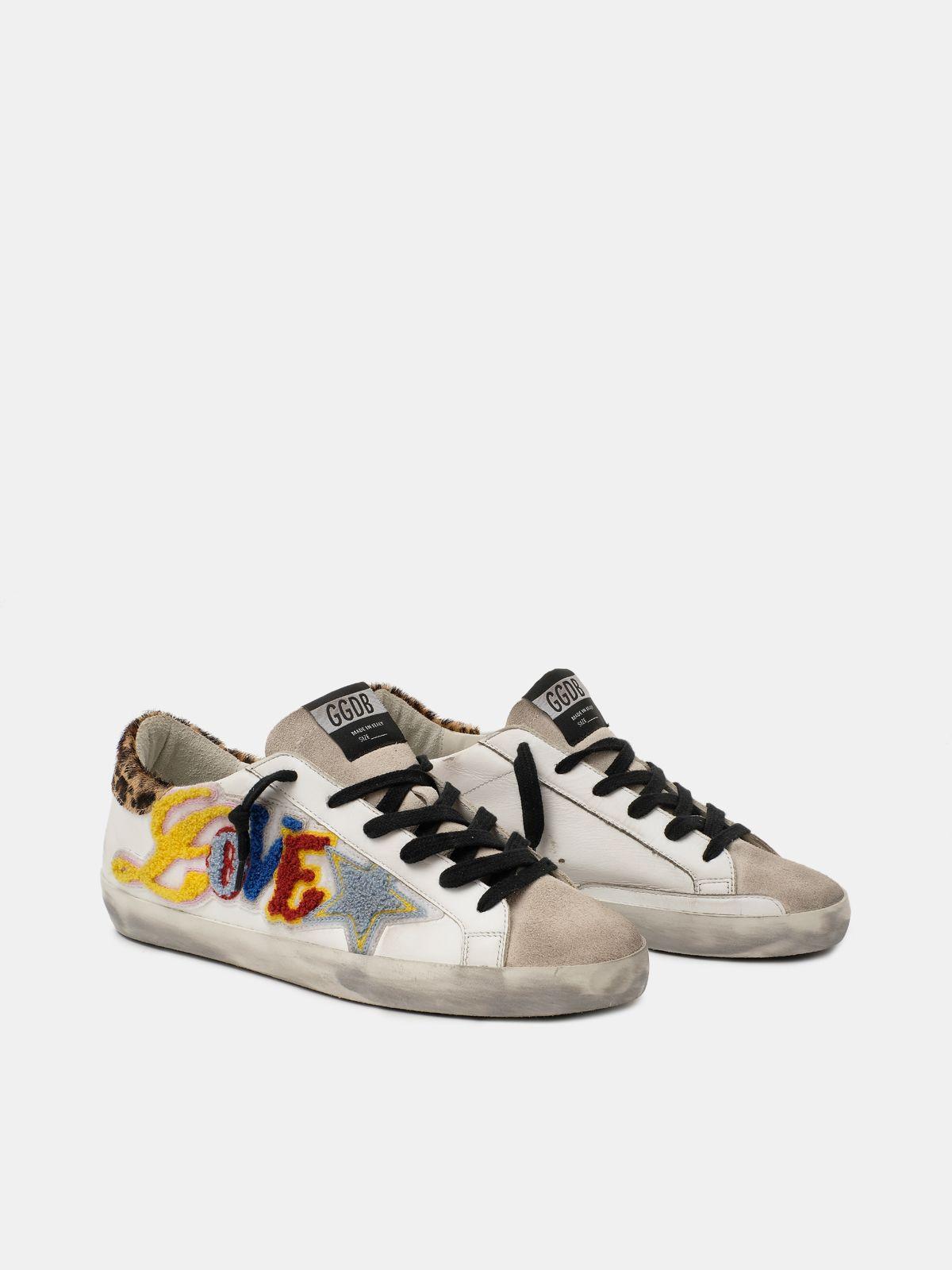 Golden Goose - Sneakers Super-Star con scritta Love multicolore in
