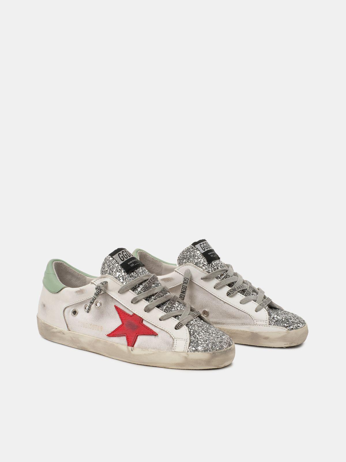 Golden Goose - Sneakers Super-Star con inserto glitter e stella rossa in