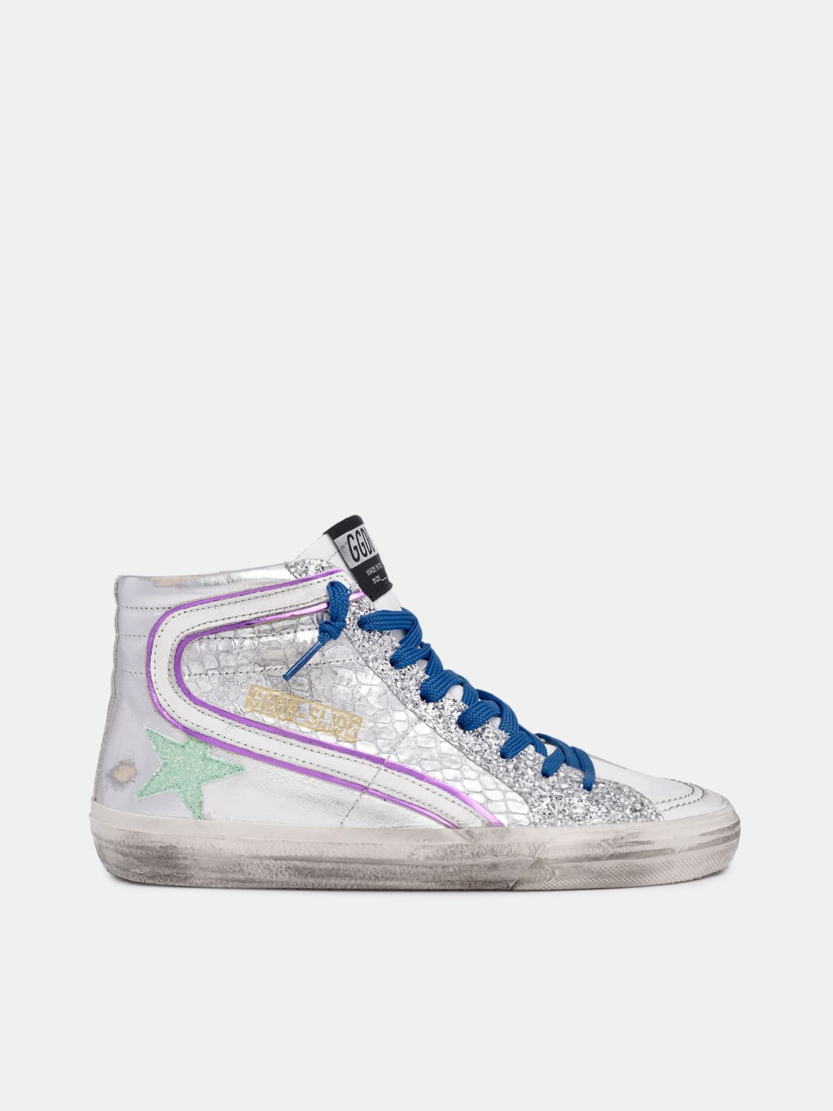 Silver Slide sneakers with glitter