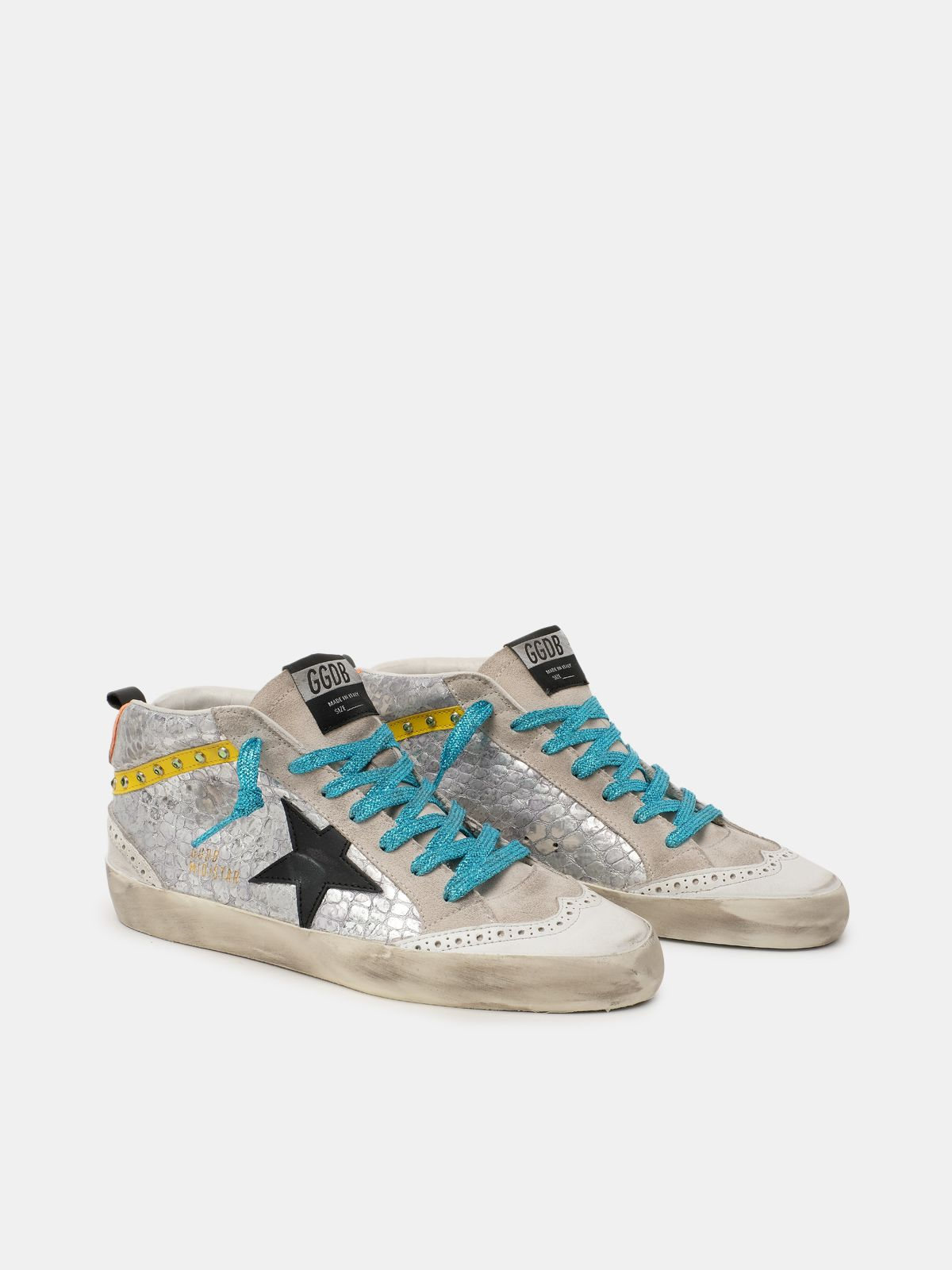Golden Goose - Silver crocodile-print Mid Star sneakers in