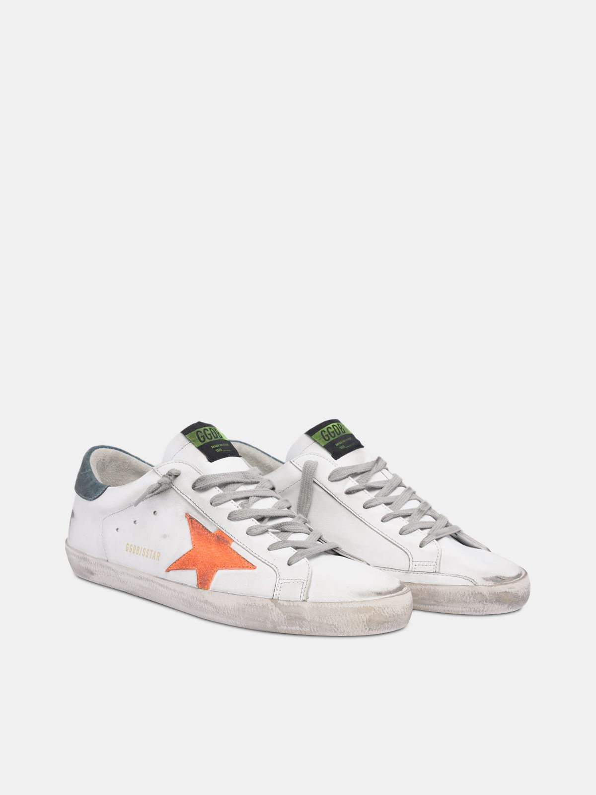 Golden Goose - White Super-Star sneakers with orange star in