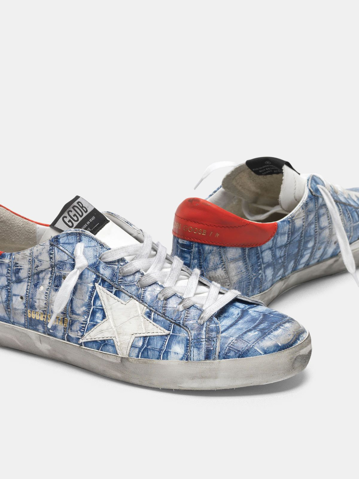 Golden Goose - Sneakers Superstar blu in pelle stampa cocco in