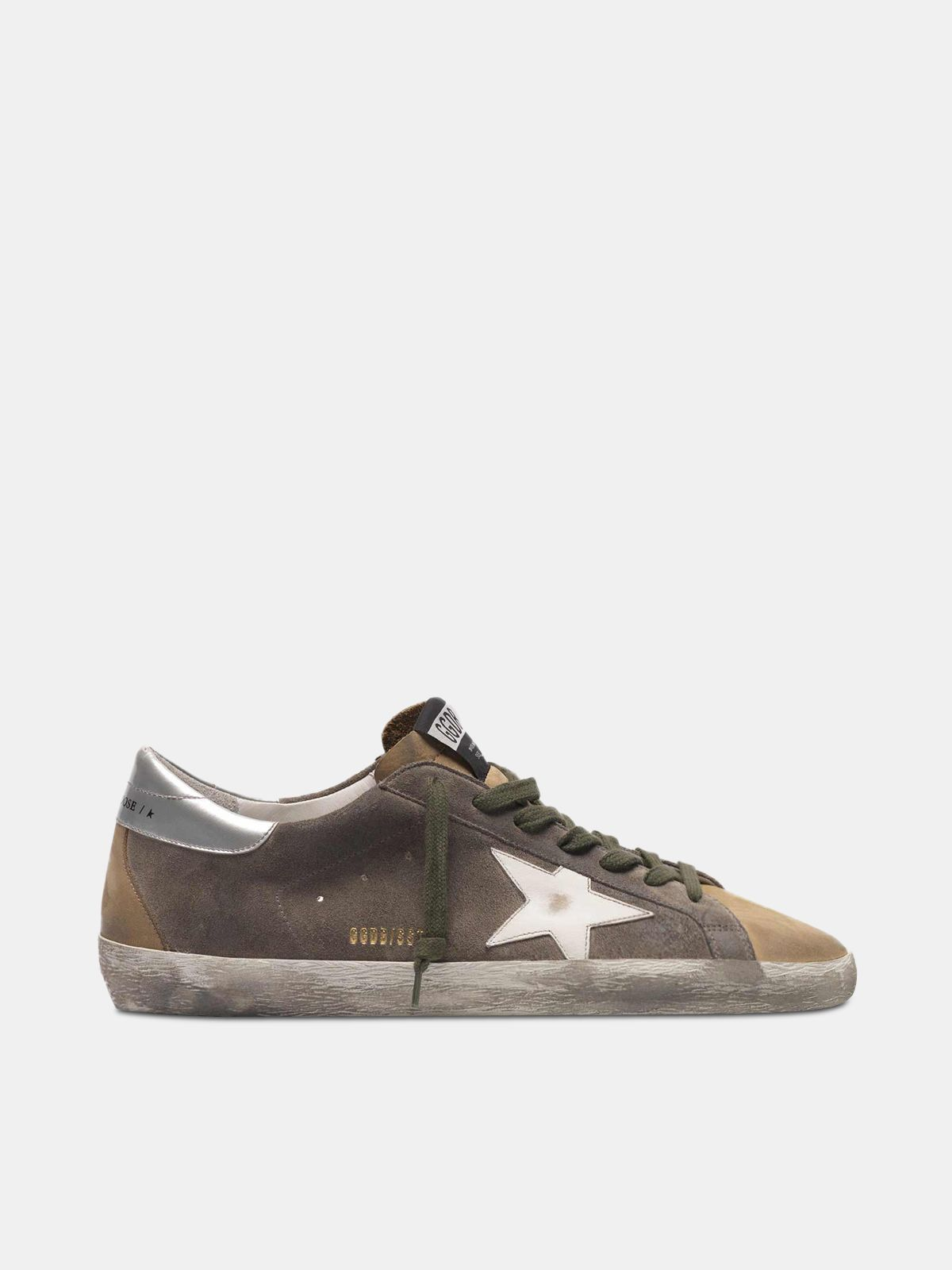 Golden Goose - Two-tone Superstar sneakers in suede with white star in