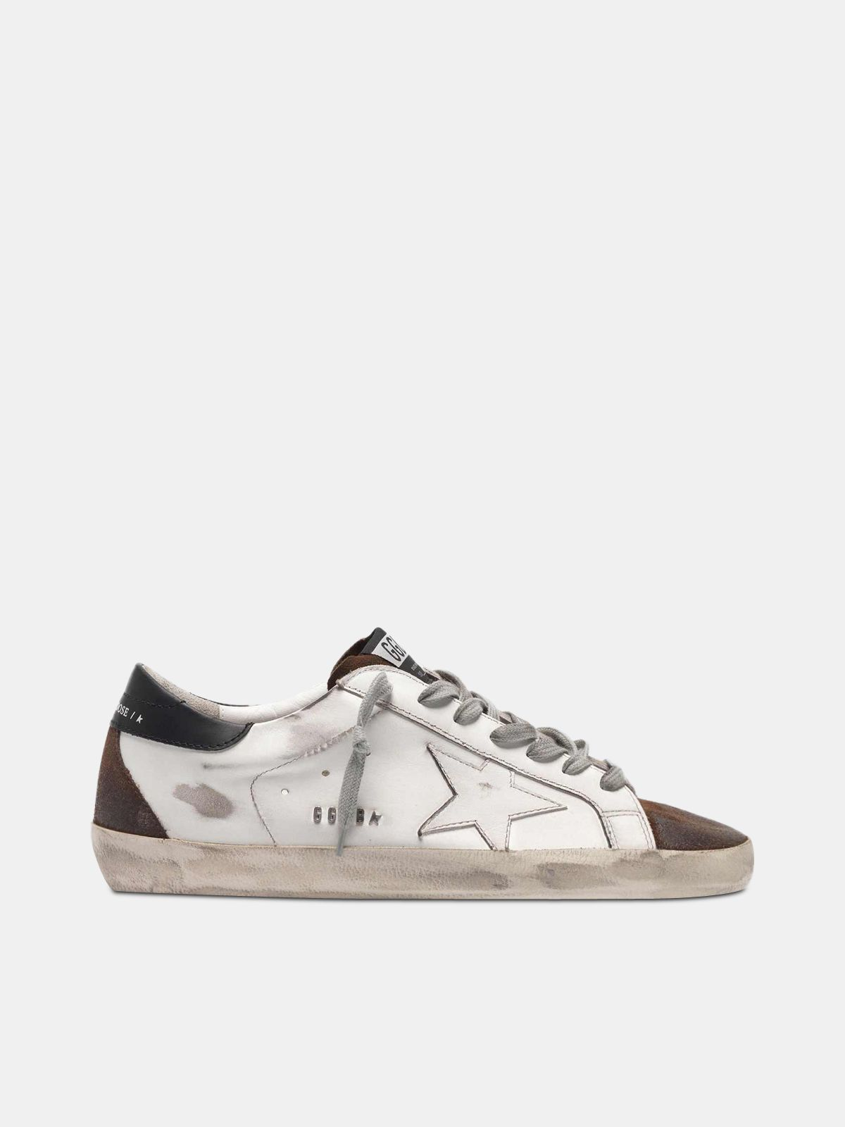 Golden Goose - Two-tone white and brown Super-Star sneakers in