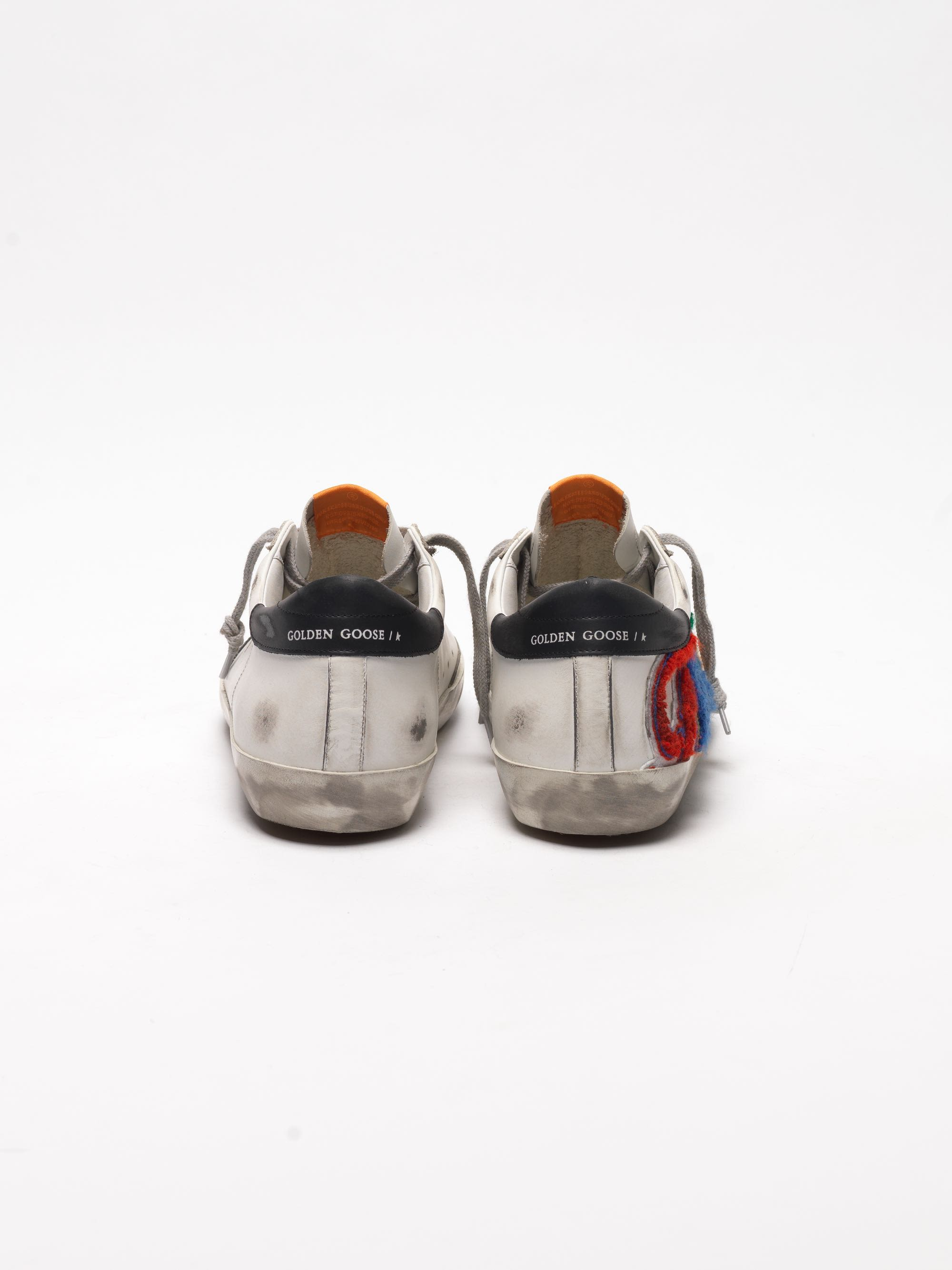 Golden Goose - White Super-Star sneakers with multicoloured patch in