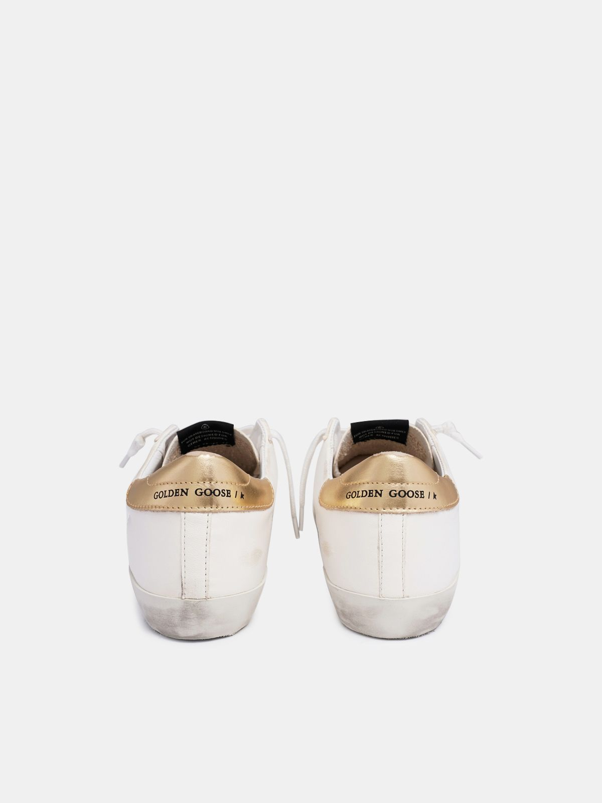 Golden Goose - Sneakers Super-Star bianche con talloncino dorato in