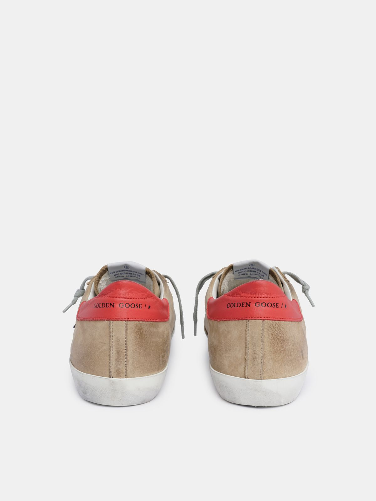 Golden Goose - Sneakers Super-Star in nabuk con talloncino rosso in