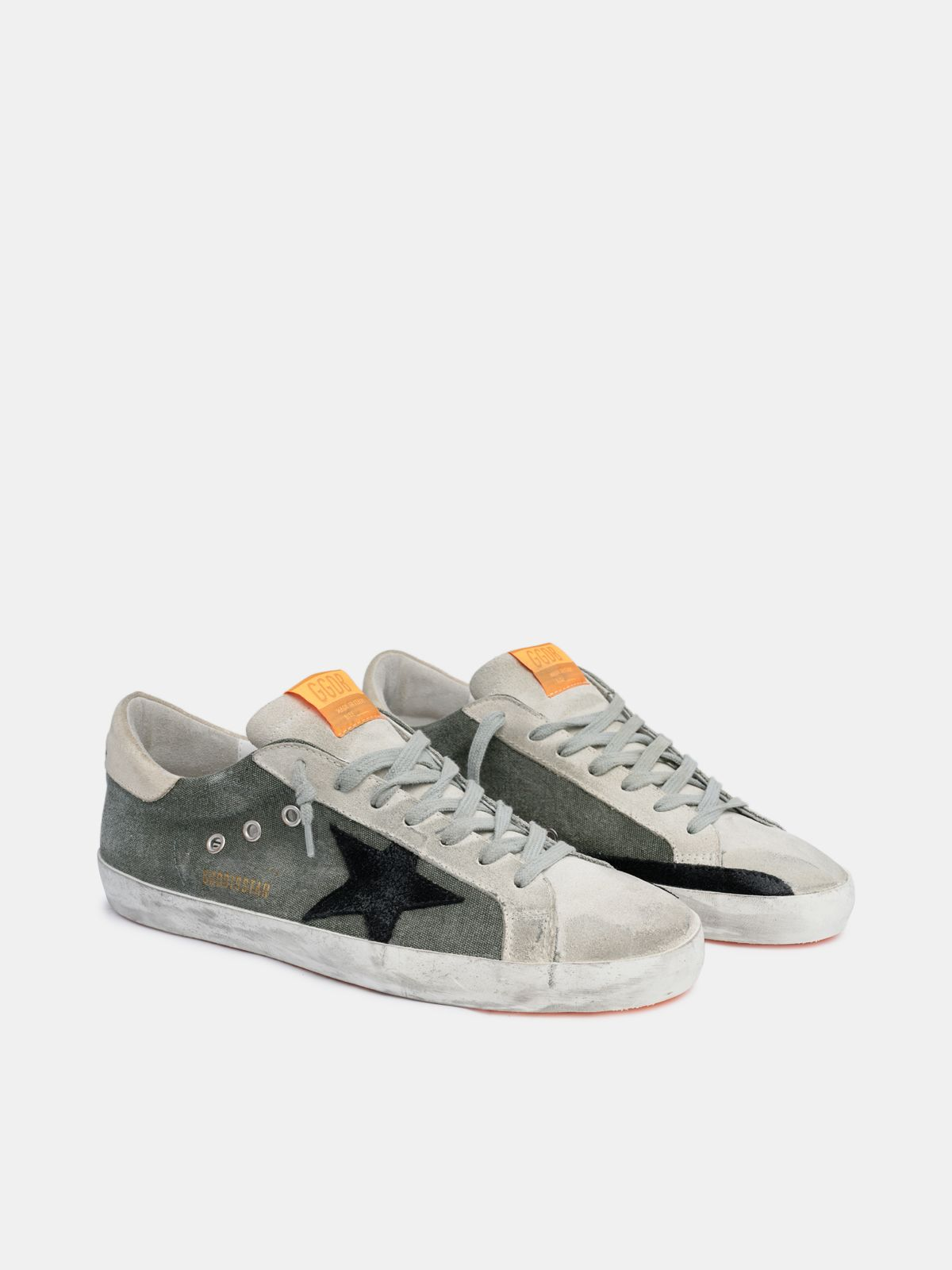 Golden Goose - Super-Star sneakers in army green canvas in