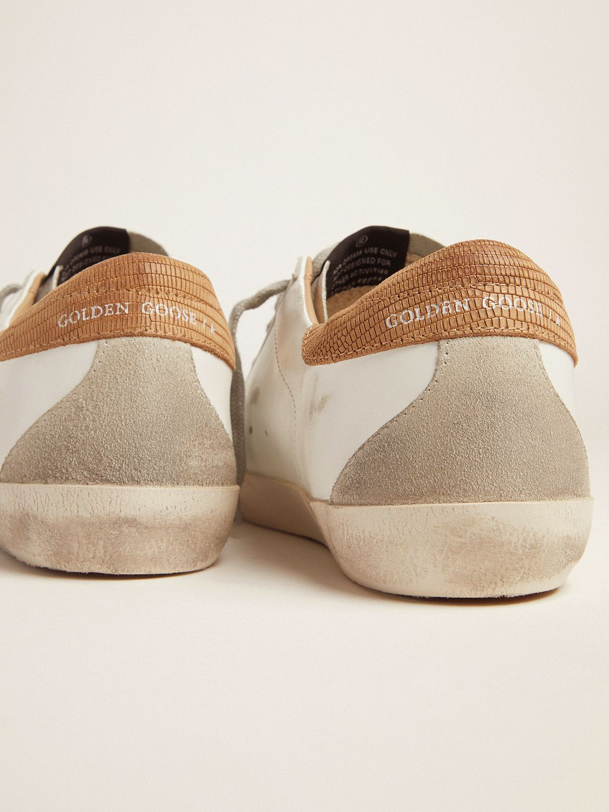 Golden Goose - Sneakers Super-Star uomo con talloncino stampa lucertolina in