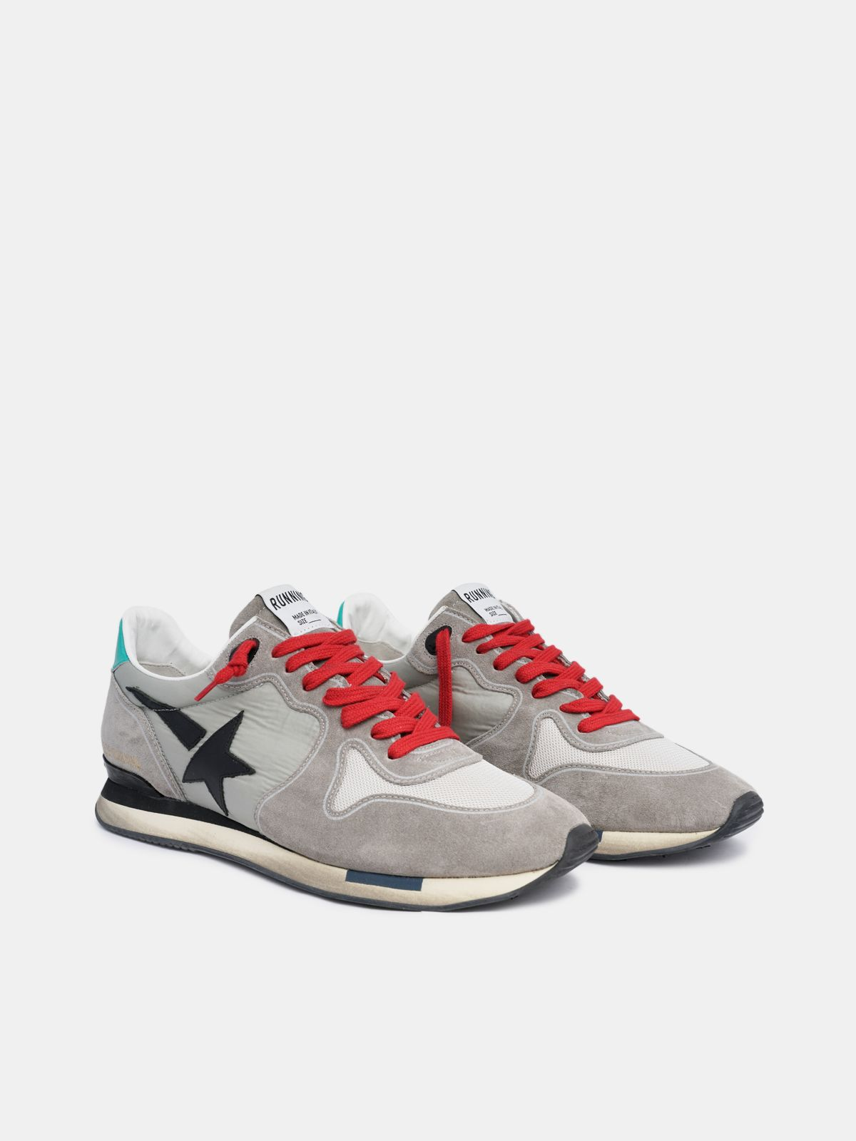 Golden Goose - Grey Running sneakers in suede with red laces in