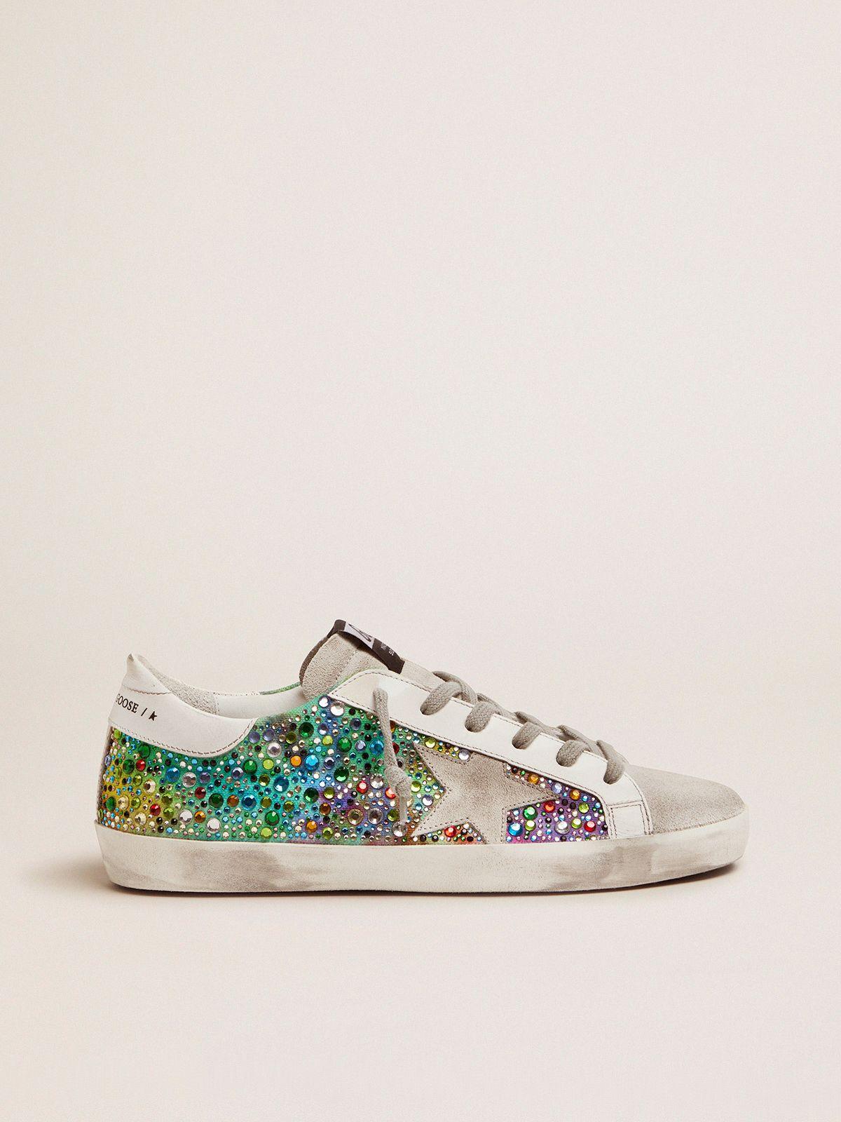 Sneakers Super-Star con cristalli arcobaleno