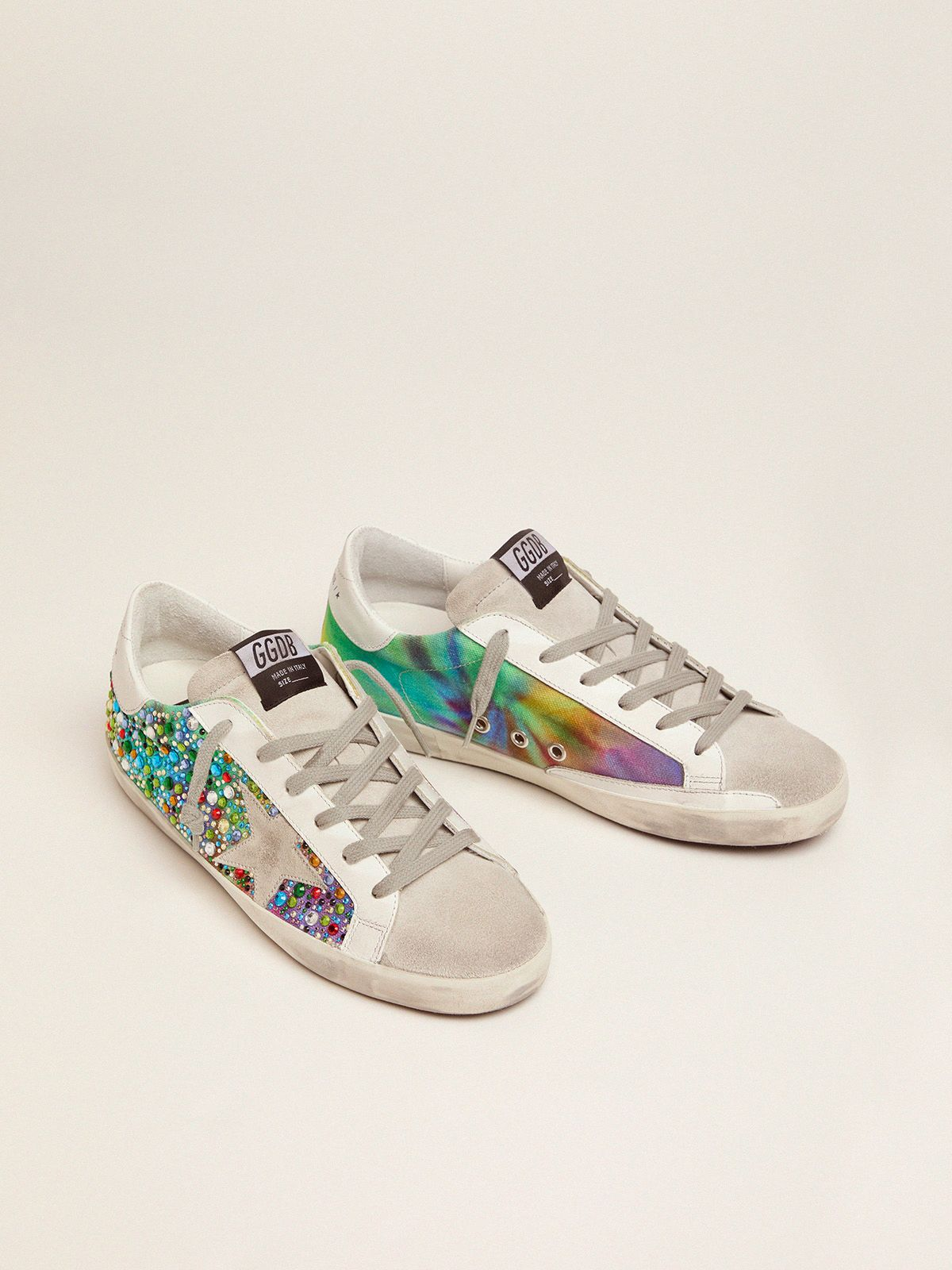 Golden Goose - Super-Star sneakers with rainbow crystals in