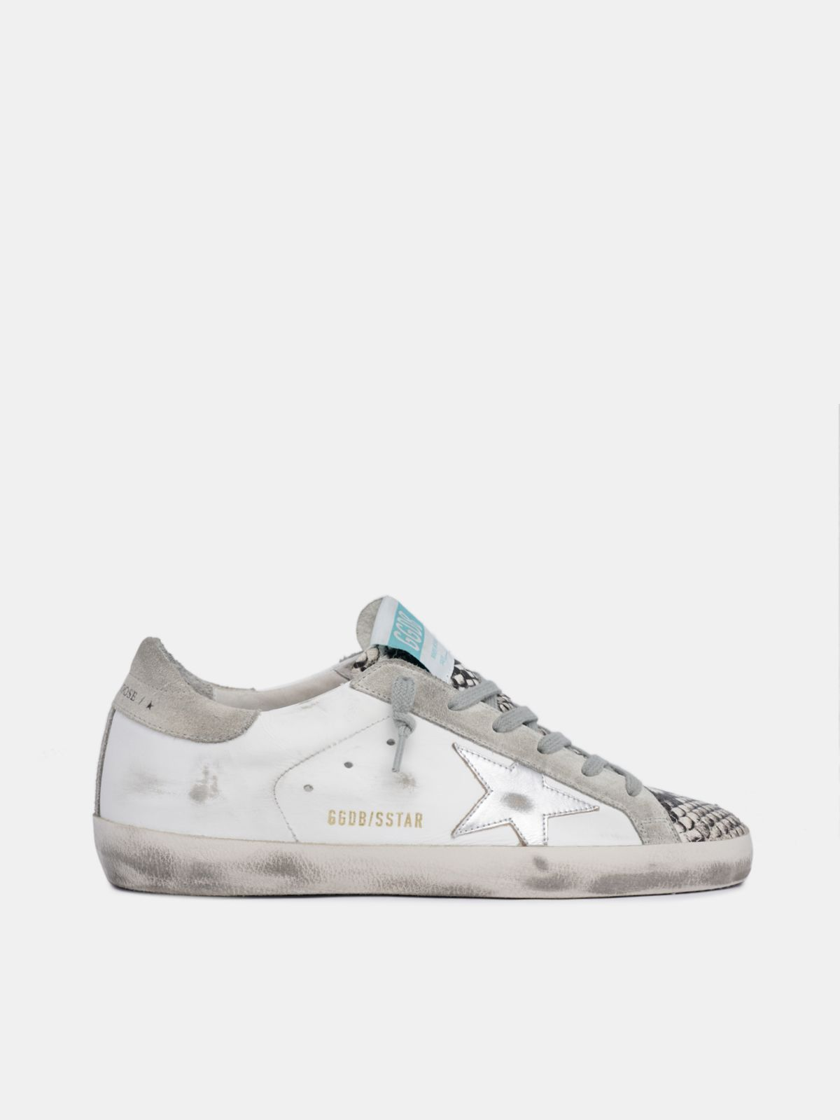 Golden Goose - White Super-Star sneakers with snake-print insert in