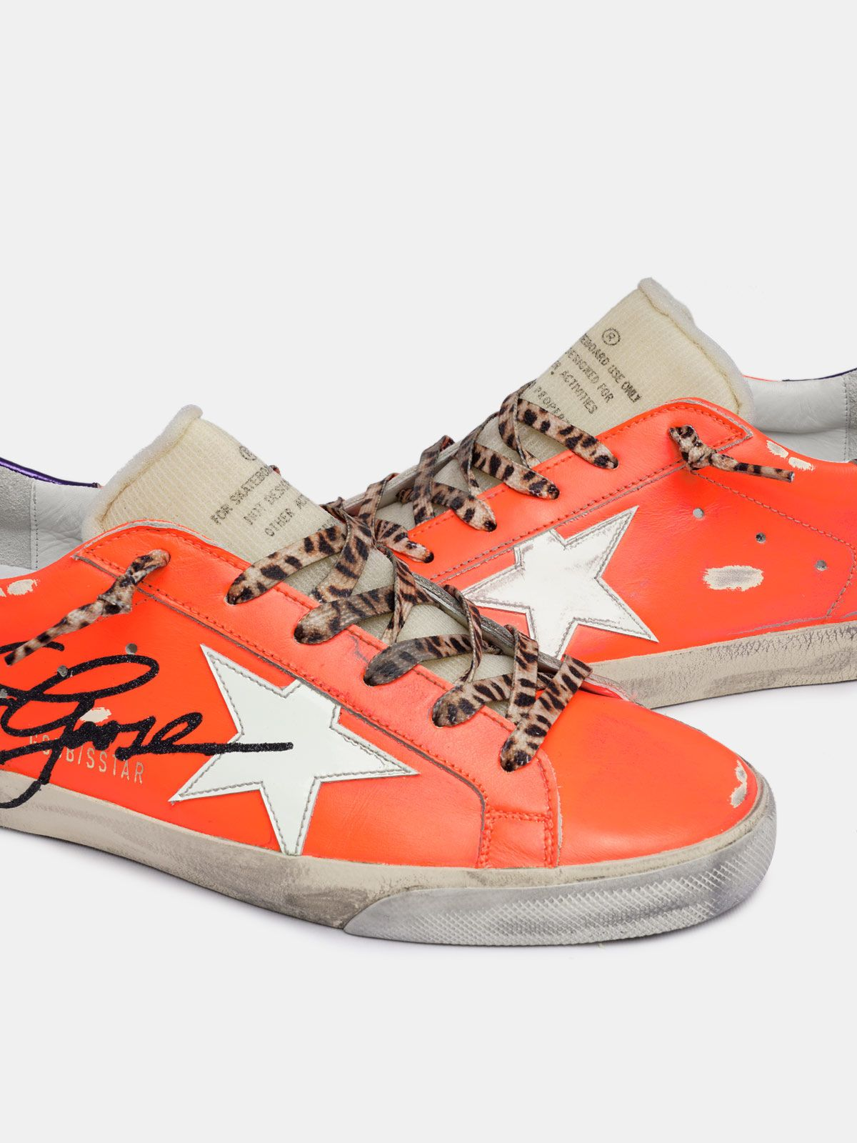 Golden Goose - Orange Super-Star sneakers with Golden Goose logo in