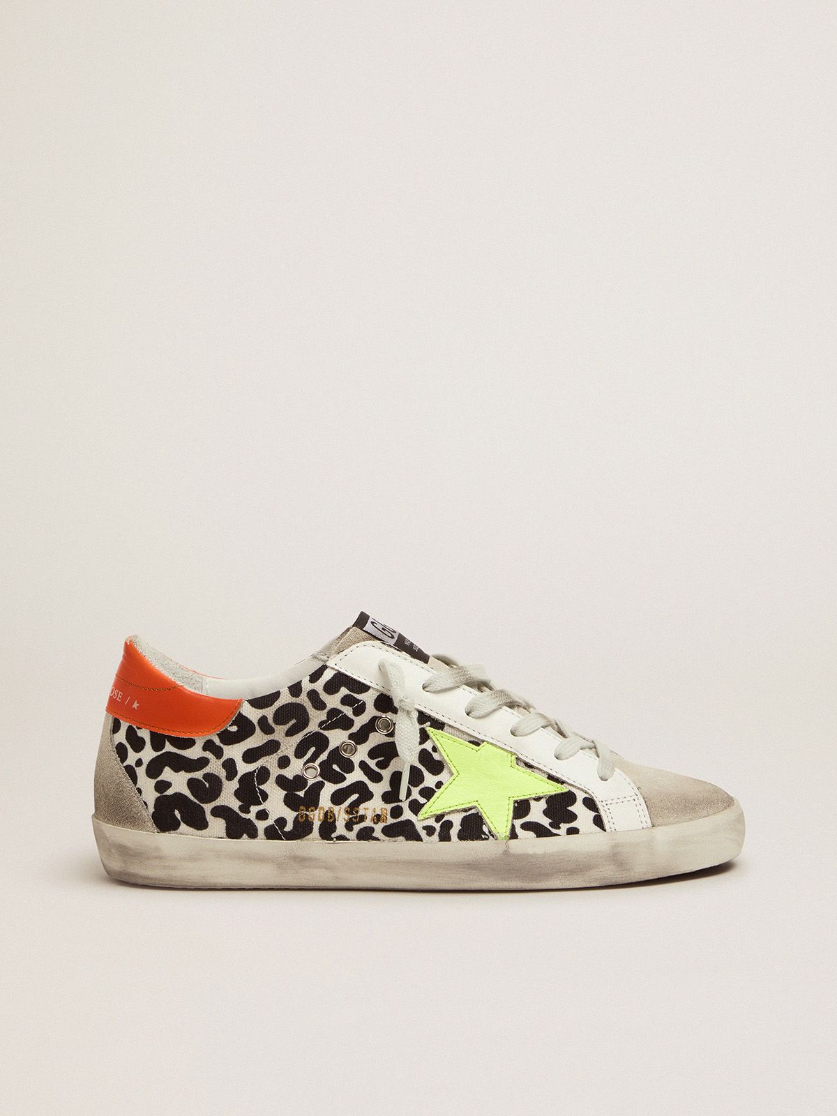 Golden Goose - Leopard-print and neon Super-Star sneakers in