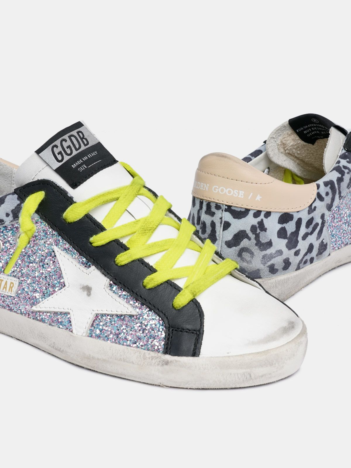 Golden Goose - Leopard-print and glitter Super-Star sneakers in